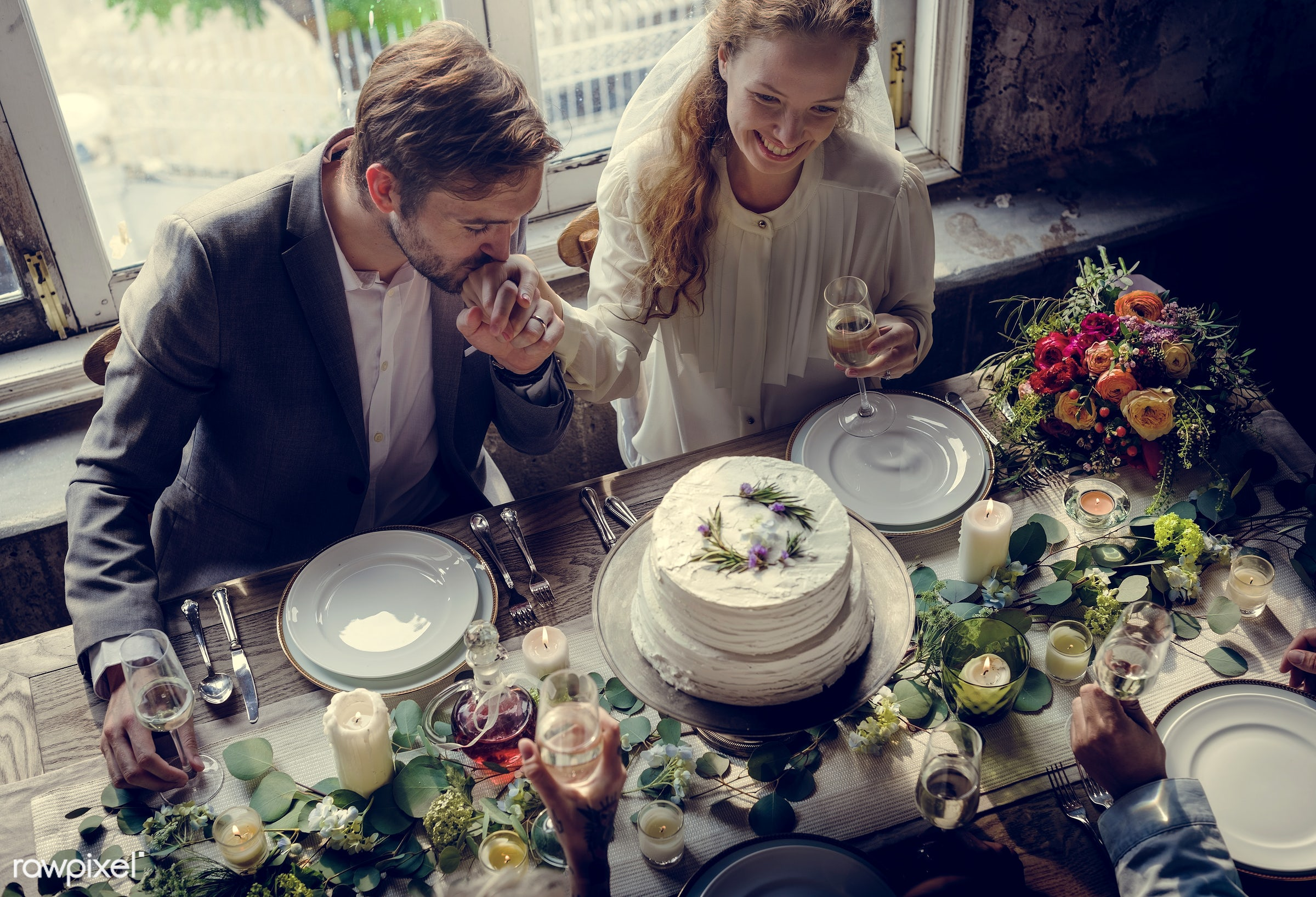 expression, person, people, together, love, kiss, married, woman, gather, drink, flowers, wine, cake, kissing, happiness,...