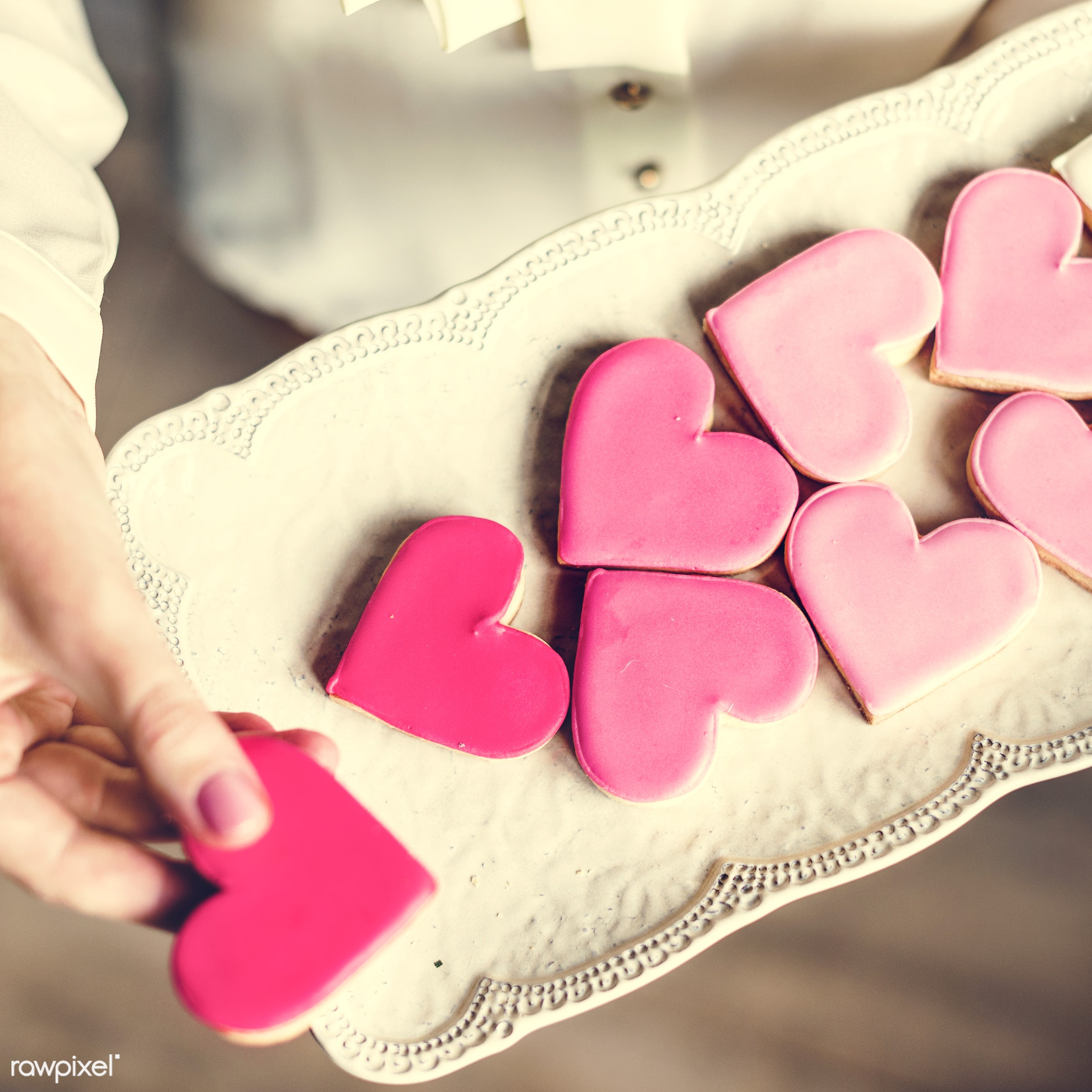 expression, dish, person, holding, smitten, people, love, bakery, woman, pink, carry, dessert, heart, yearning, white, plate...
