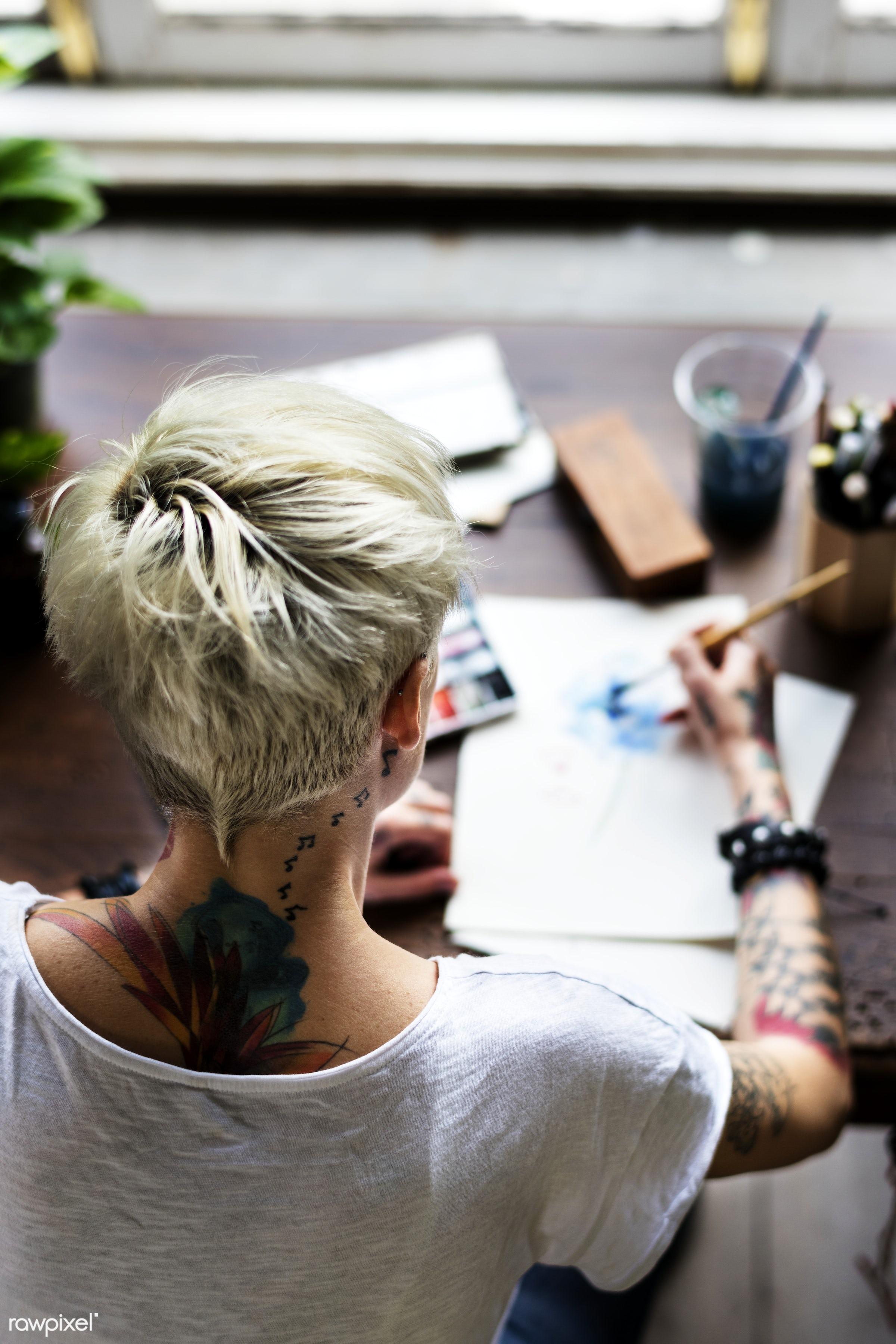 Tattooed girl watercolor art - activity, art, blonde, brush, caucasian, color, design, desk, drawing, flower, hobby, leisure...