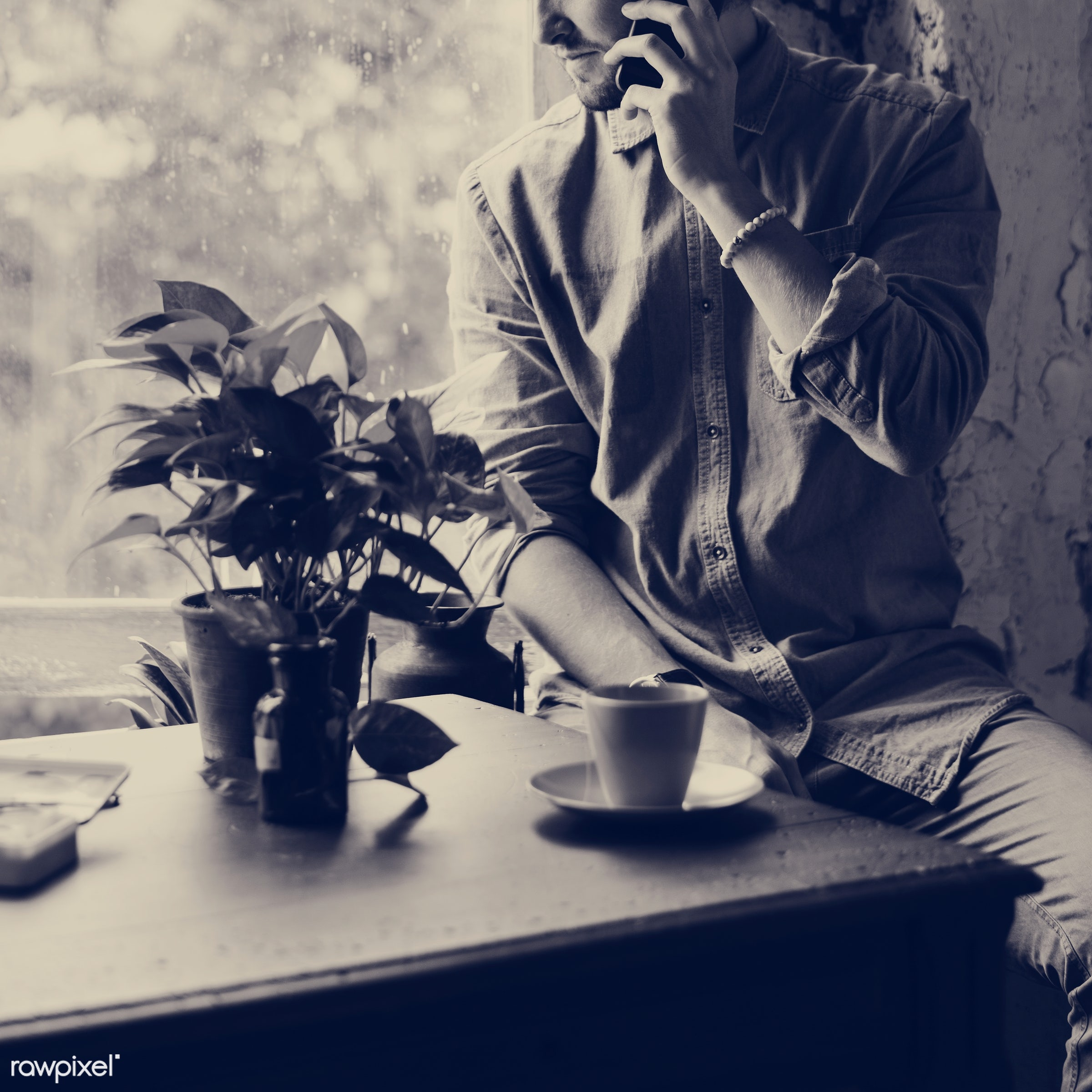 plant, cup, person, technology, workspace, workplace, people, pot, telecommunication, casual, mobile phone, men, man, vase,...