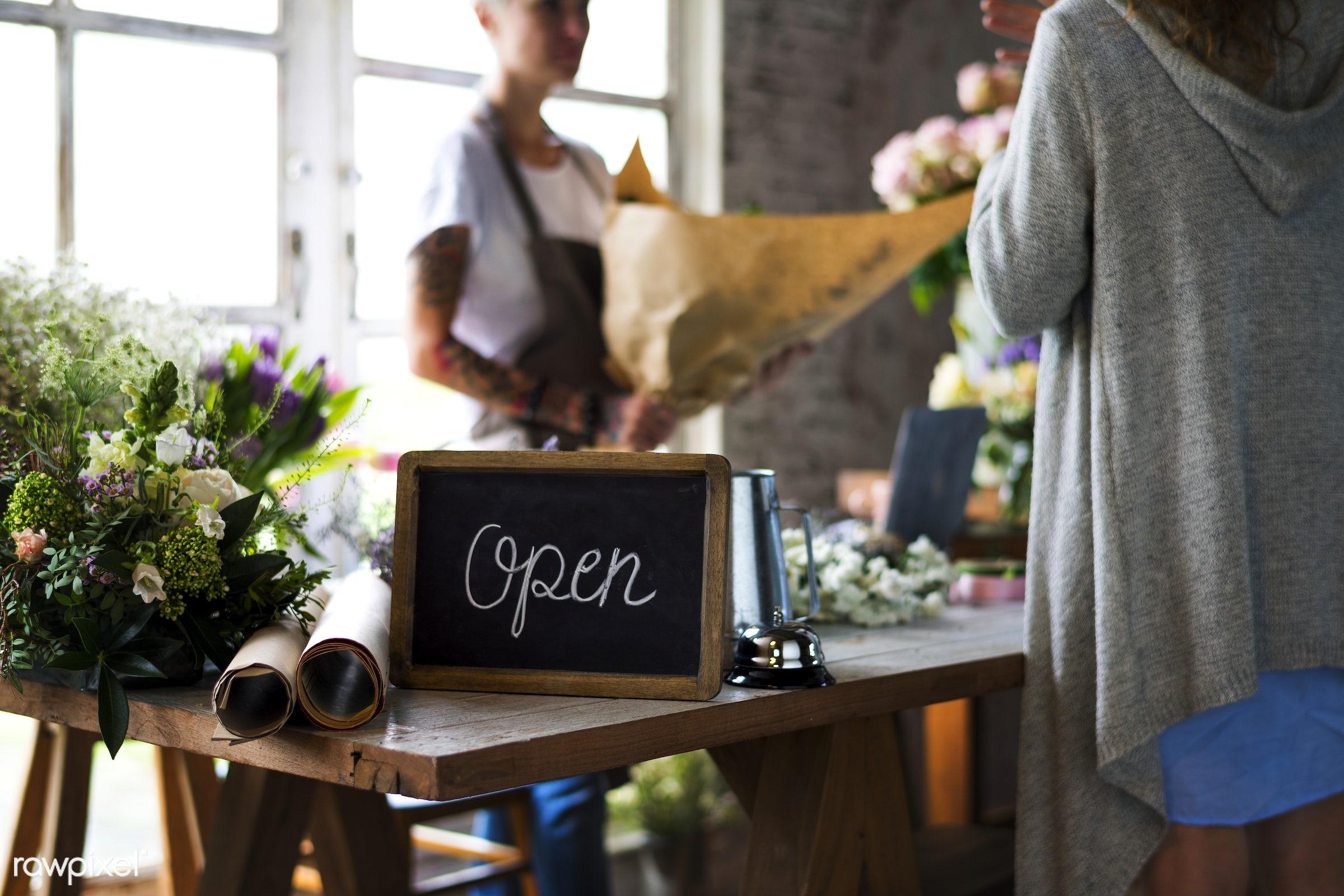 bouquet, shop, detail, person, customer, decor, nature, woman, tattoo, flowers, work, refreshment, florist, present,...