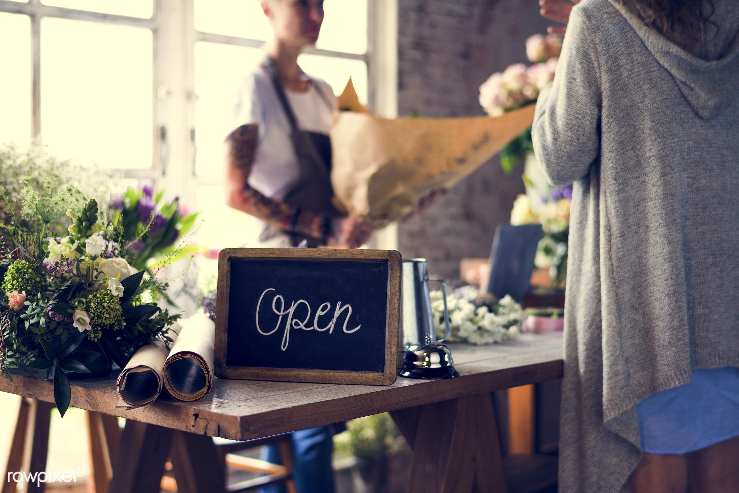 bouquet, shop, detail, person, customer, people, decor, nature, woman, tattoo, flowers, work, refreshment, florist, present...