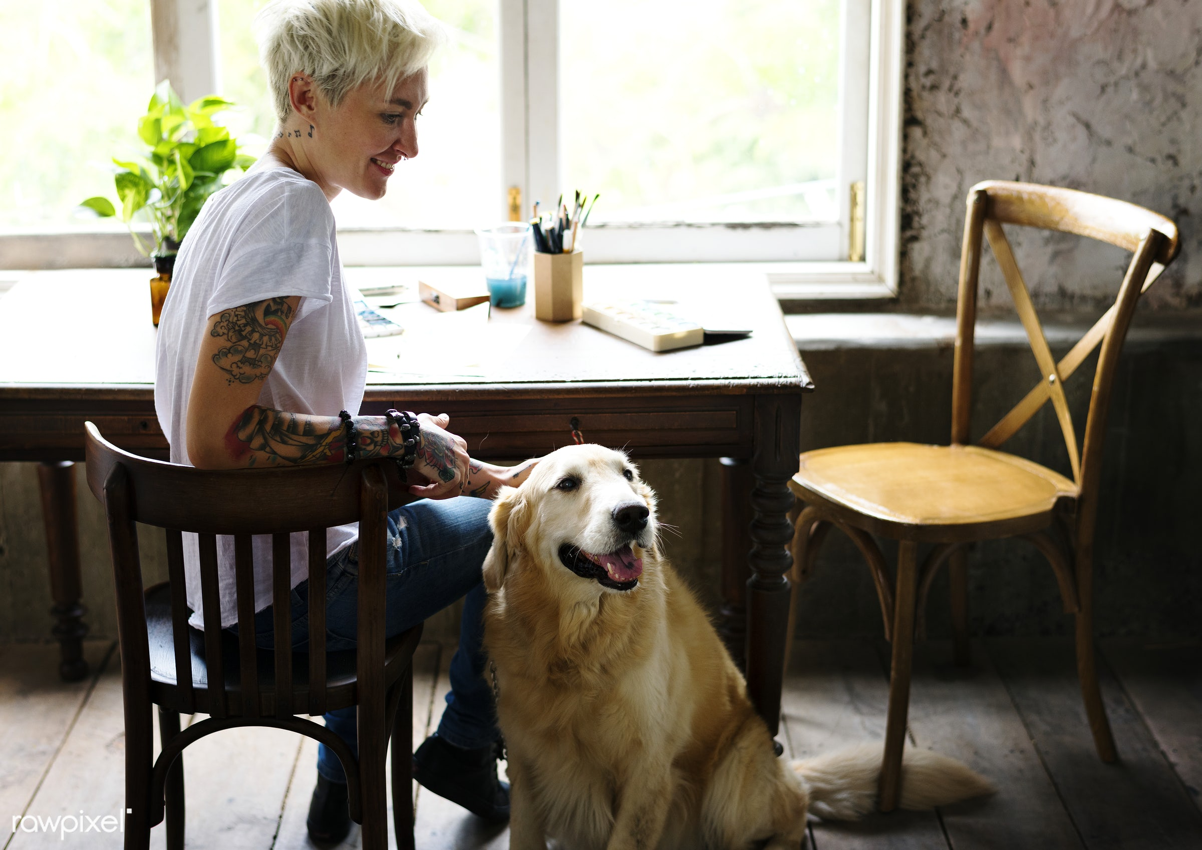 Woman and golden retriever dog relaxing  - tattoo, woman, girl, sitting, chair, table, desk, workspace, dog, pet, animal,...