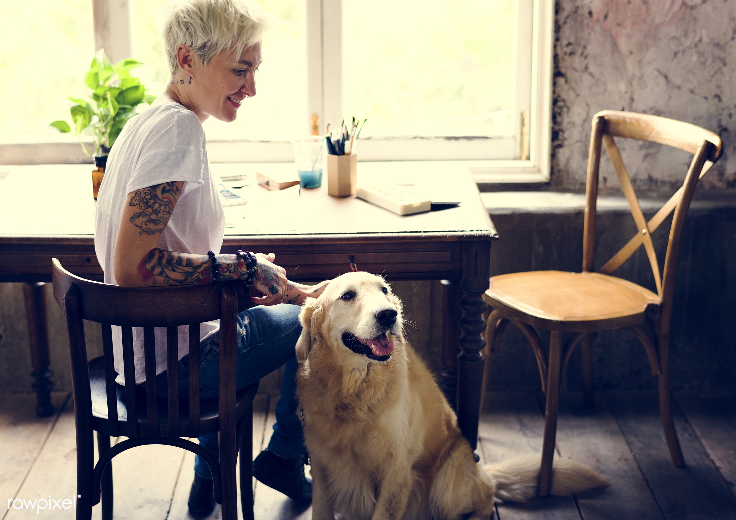 breed, relax, together, caucasian, break, friends, woman, tattoo, cheerful, hobby, leisure, canine, sitting, owner, adorable...