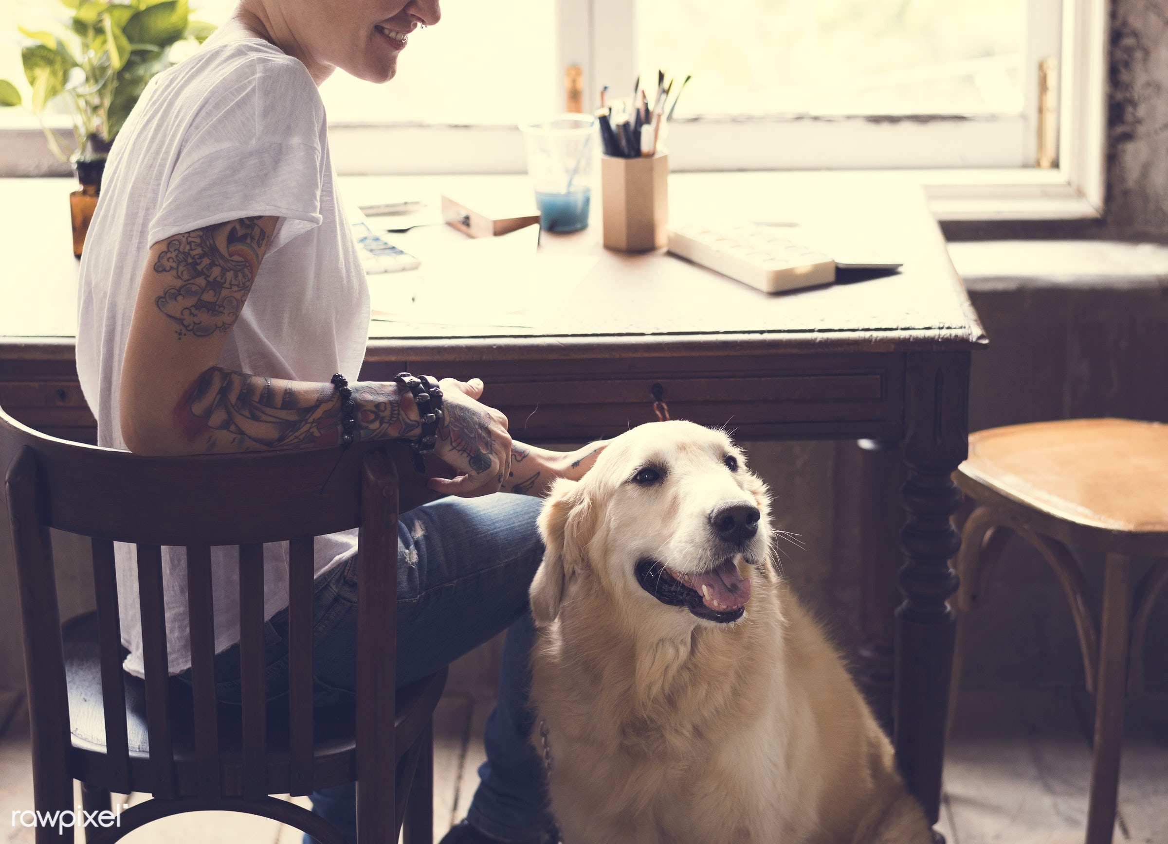 person, workspace, workplace, people, pot, drawing, playing, golden retriever, woman, casual, tattoo, smile, cheerful,...