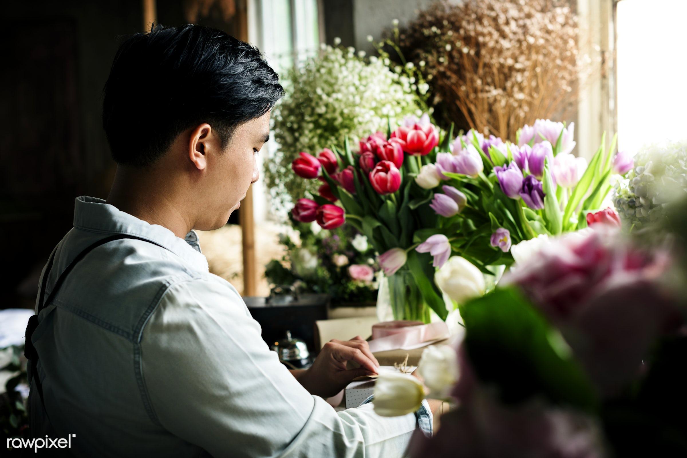 Florist job flower arrangement and decoration - workshop, flowers, florist, job, occupation, arrangement, decoration, real,...