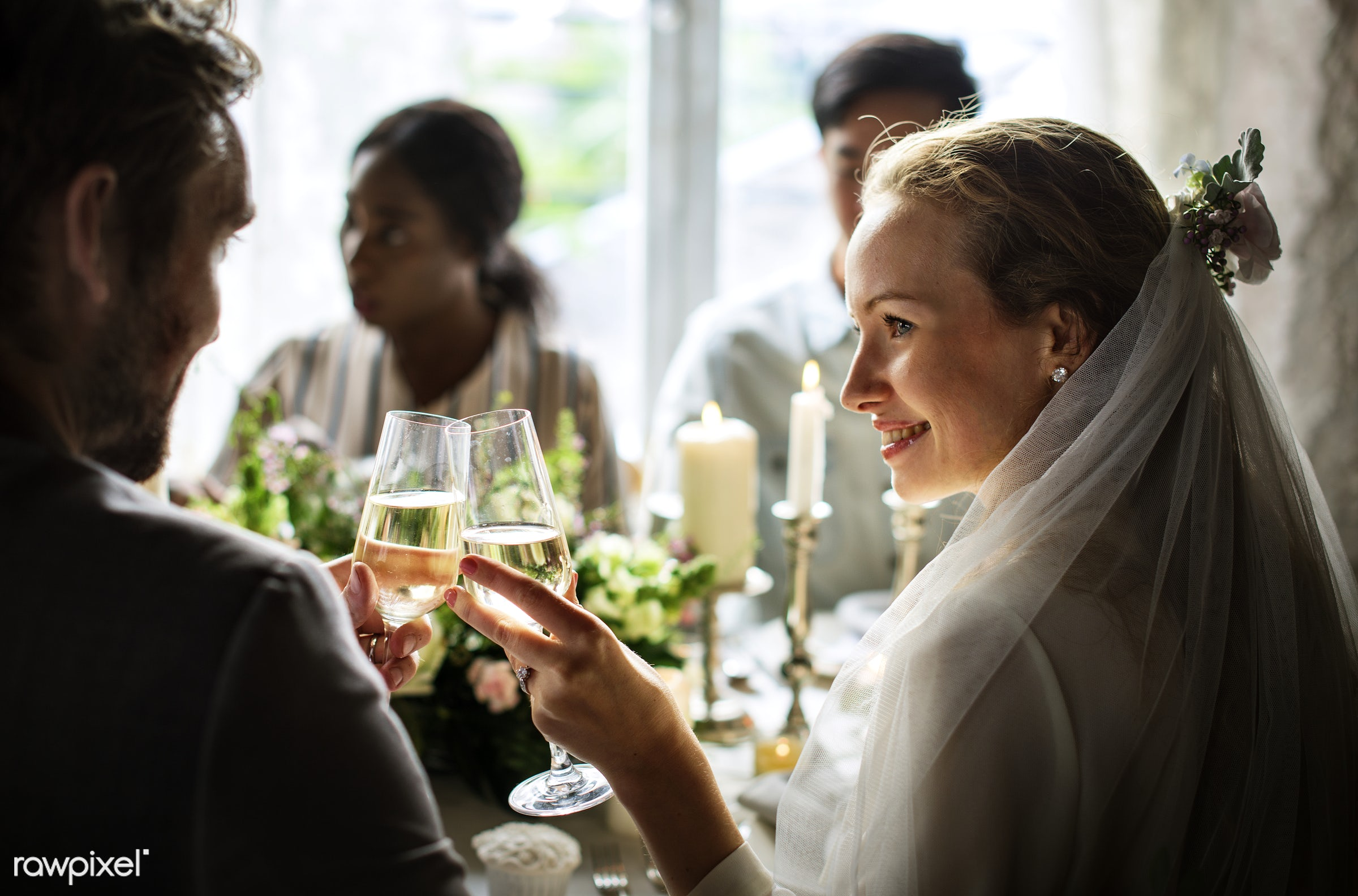 Couple at the wedding day doing a toast at reception table - alcohol, bride, celebration, champagne, couple, drinking, event...