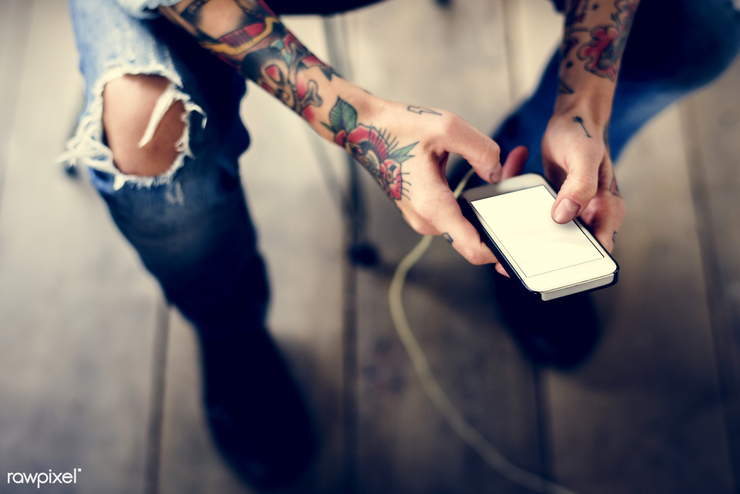 detail, person, phone, using, technology, holding, show, people, caucasian, break, woman, cellphone, empty, tattoo, screen,...