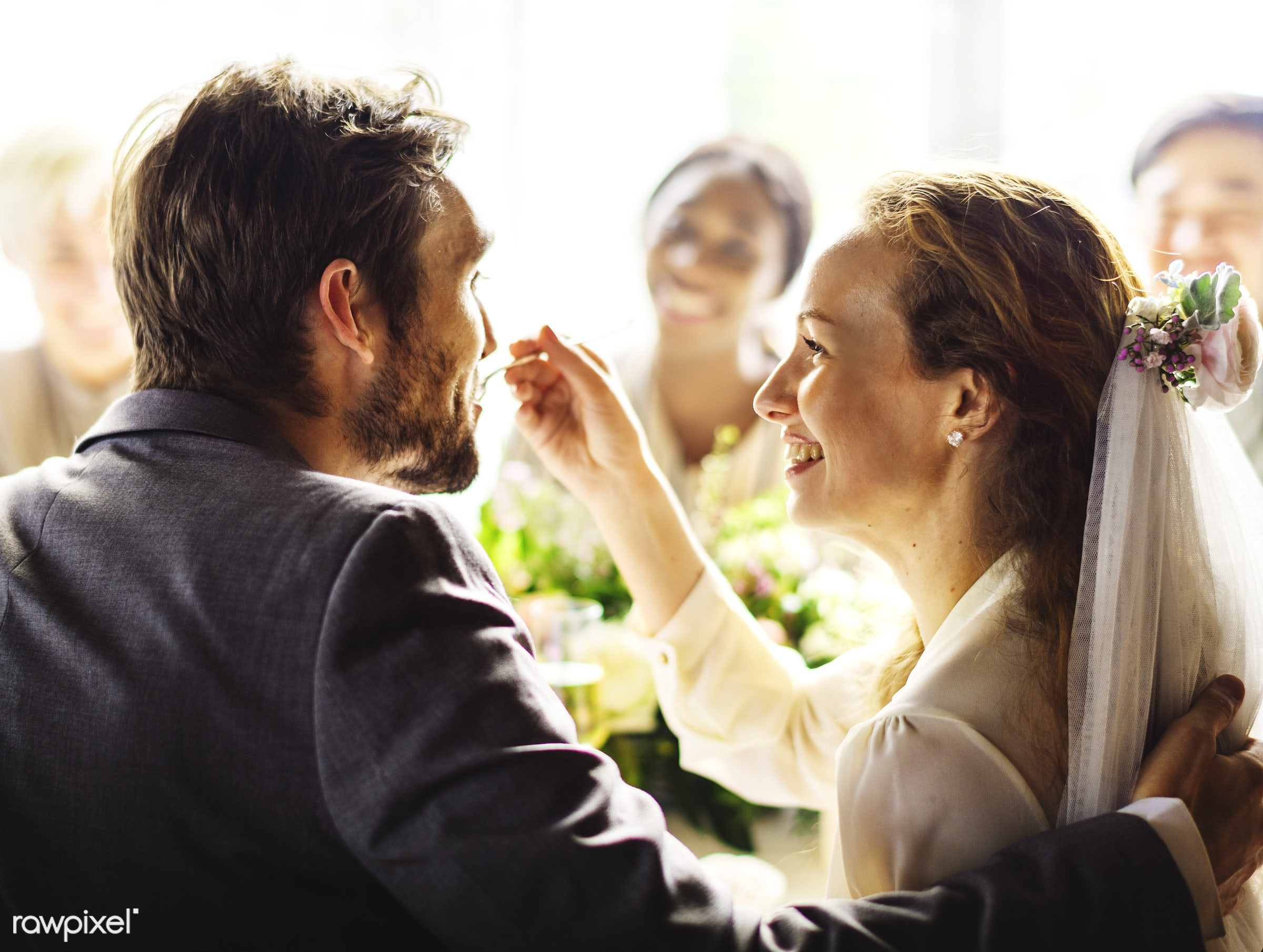 expression, person, smitten, people, together, love, friends, married, woman, family, event, gathering, cheerful, cake,...