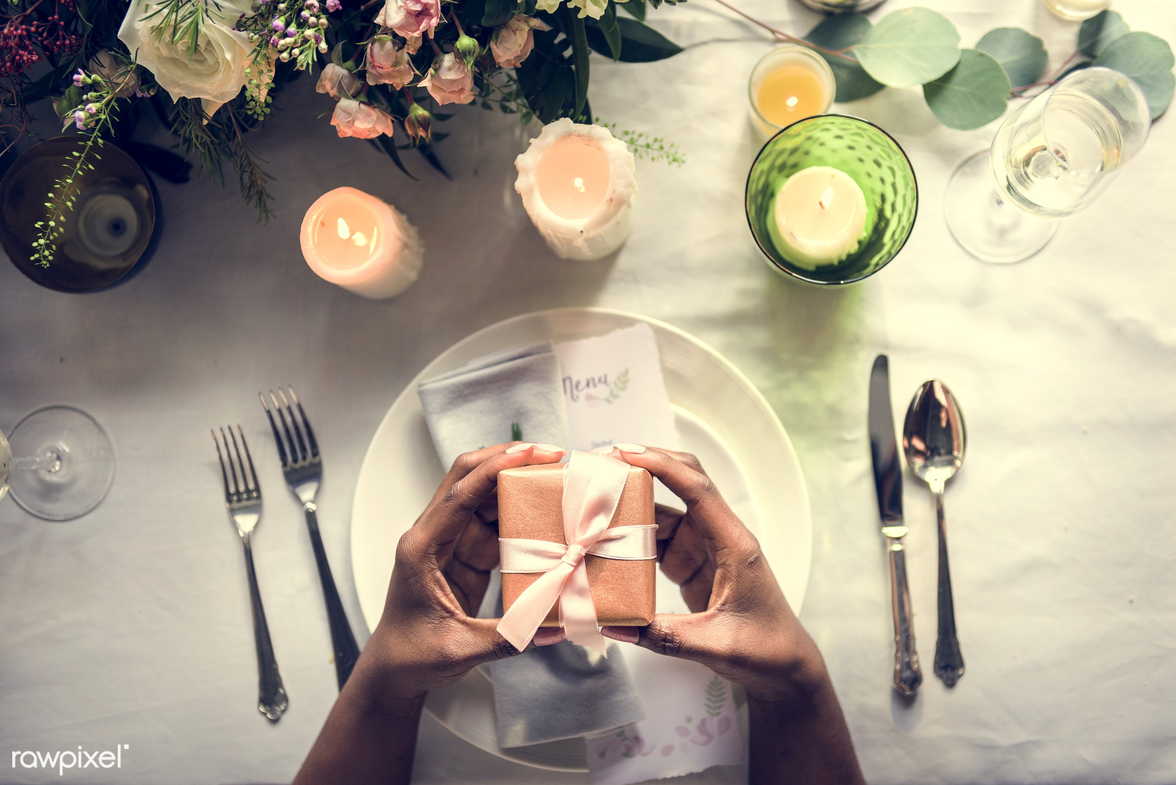 gift, ornate, catering, silverware, restaurant, party, setting, decor, candle, tablecloth, event, banquet, lunch, meal,...