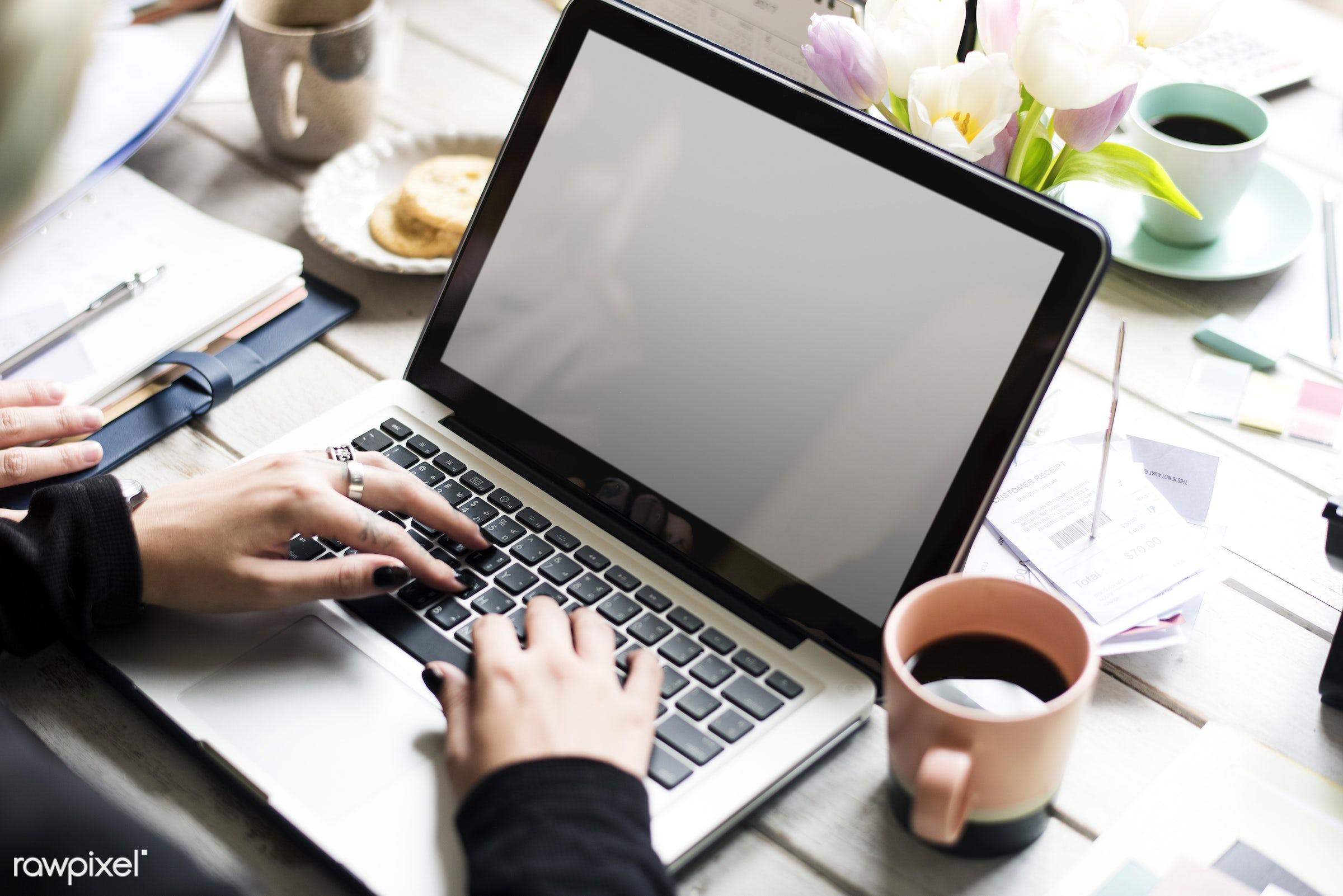 copy space, technology, workspace, mockup, workplace, leaf, desk, beauty, blossom, nature, fresh, laptop, refresh, flower,...
