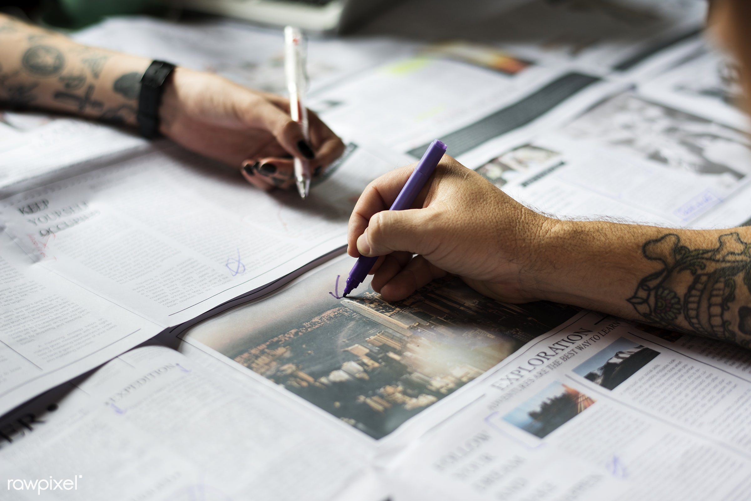 paper, writing, pens, hands, marking, tattoo, news, table, publication, two, marker, newspaper, creative commons 0, creative...