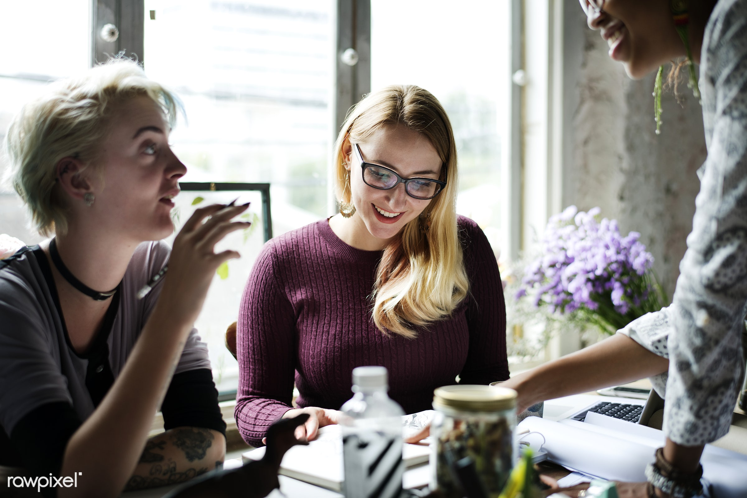 Women business meeting - office, teamwork, meeting, table, workspace, attach, attached, brainstorming, casual, desk,...