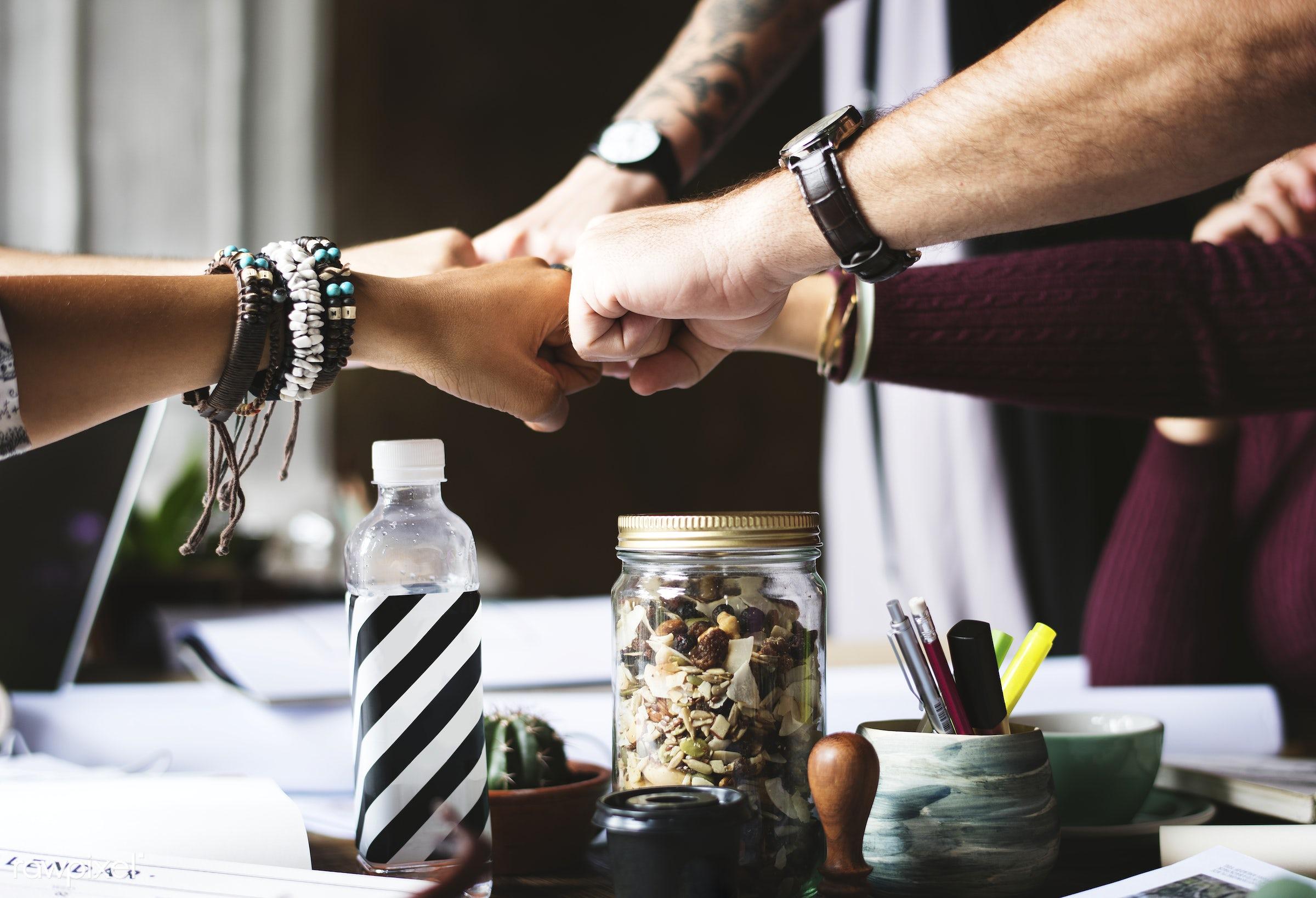 desk, teamwork, hands, cooperation, closeup, team, table, colleagues, startup, unity, fist, group, fist bump, creative...