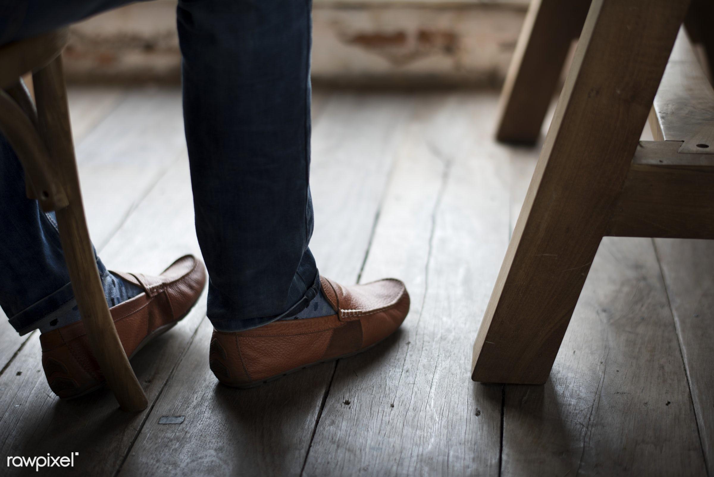 person, footwear, foot, clothing, wooden floor, socks, indoors, desk, people, life, lifestyle, casual, men, alone, man,...
