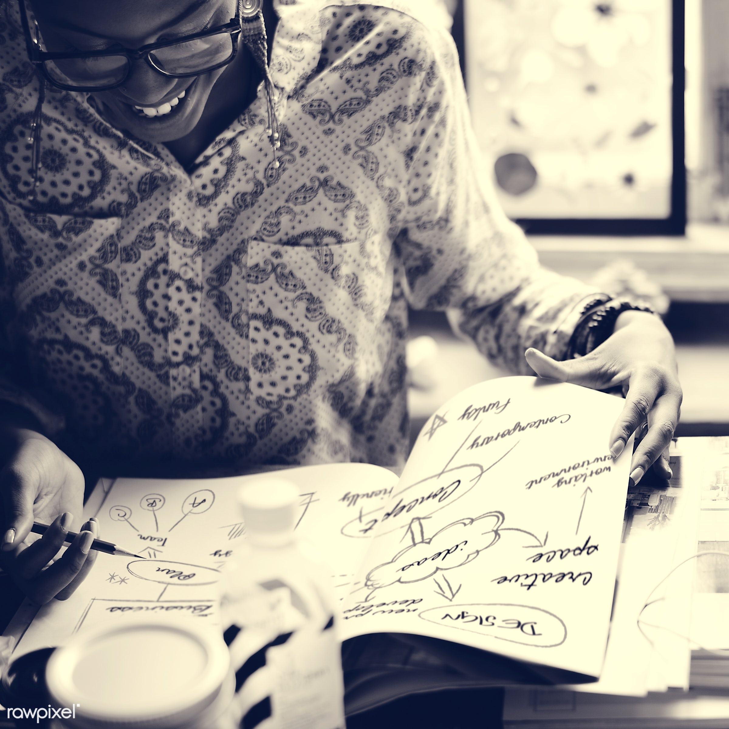 person, glasses, workspace, paper, writing, workplace, people, creativity, woman, working, ideas, creative, african descent...