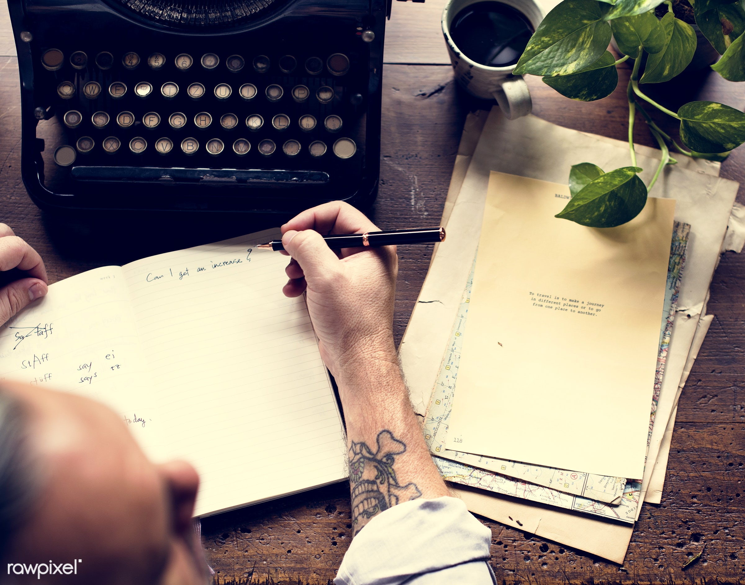 using, person, old, typescript, type, people, story, ancient, old fashion, typewriter, typing, working, tattoo, writer, work...