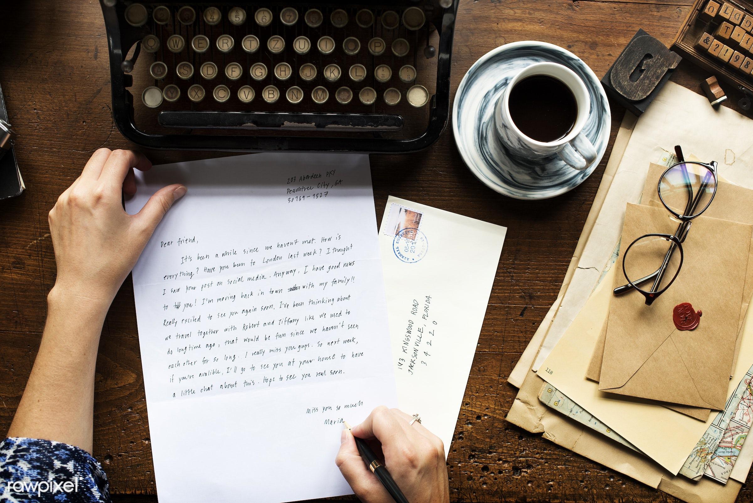 plant, workspace, paper, envelope, wax, retro, writing, workplace, drinks, hands, seal, typewriter, working, aerial view,...