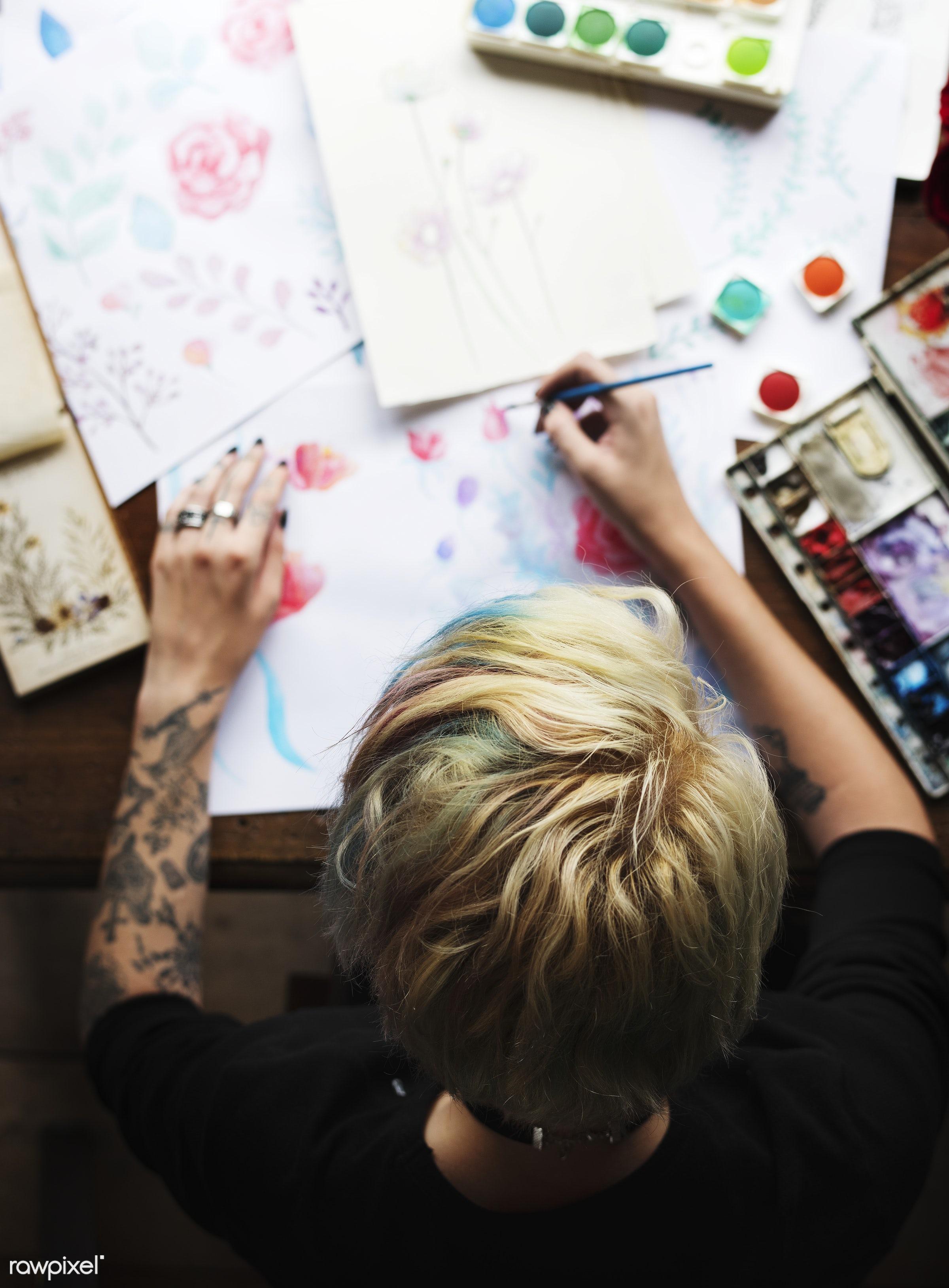 craft, person, arts, relax, handicraft, tool, palette, paintbrush, equipment, creativity, people, draw, hands, woman,...