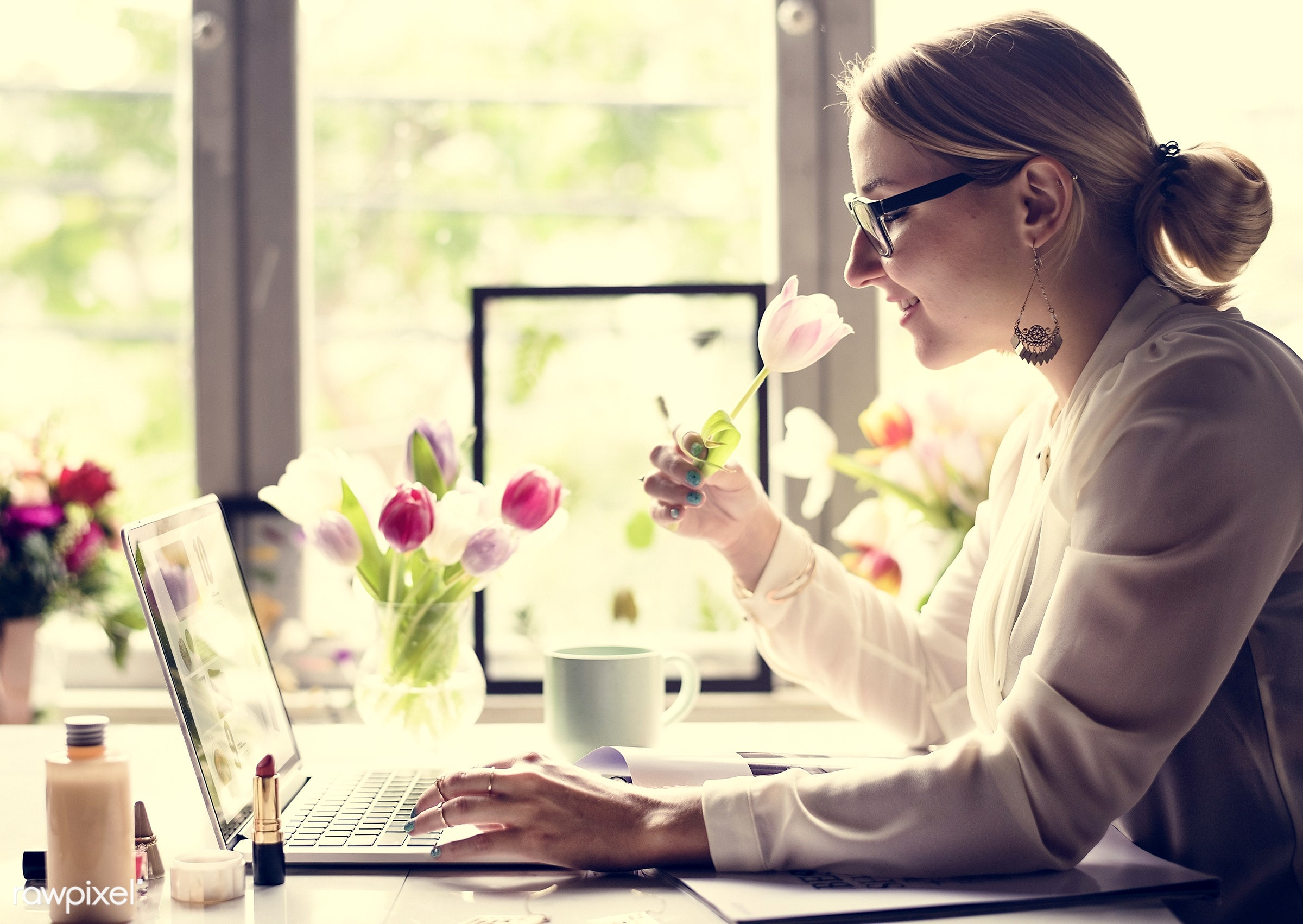 laptop, attach, attached, beautiful, beauty, blossom, cafe, coffee, cosmetics, creative, creativity, cup, desk, dried plant...