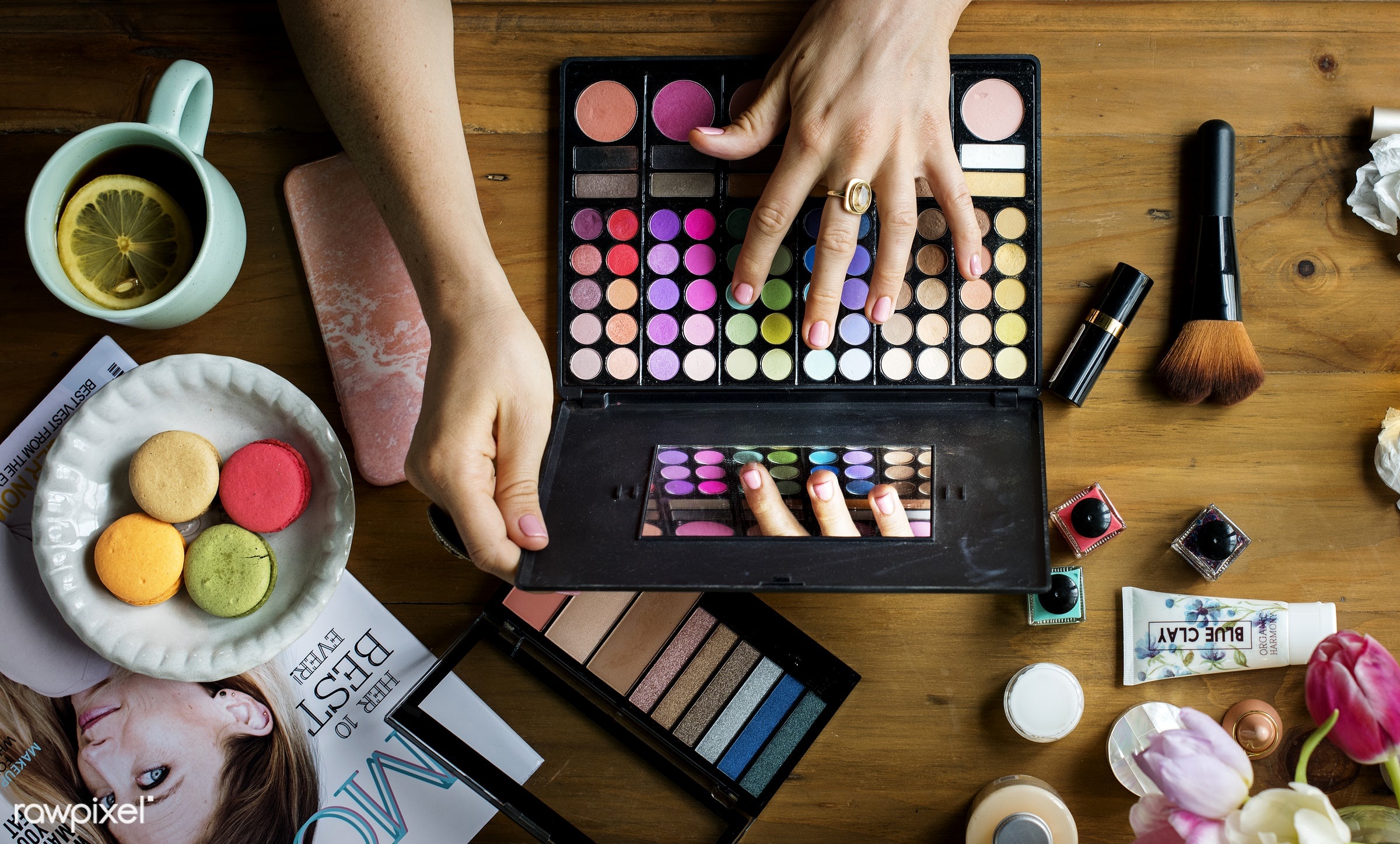 Ariel view of make up products - cosmetic, makeup, aerial view, attach, attached, beauty, blush, brushes, care, coffee,...