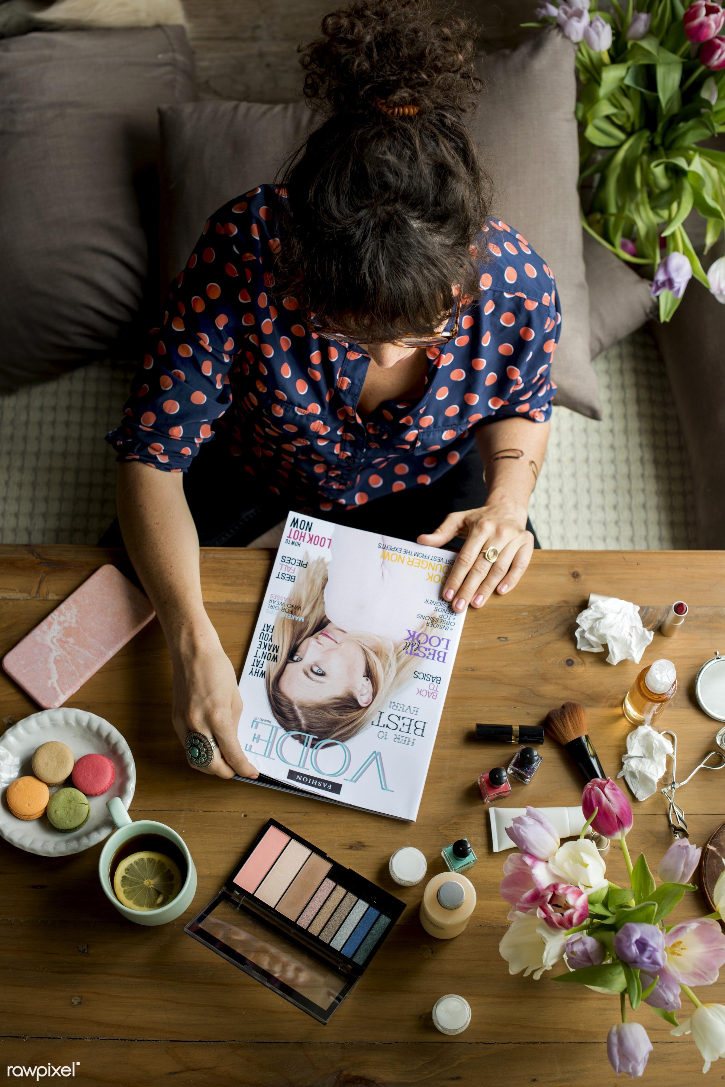 fashion, person, macaron, workspace, workplace, leaf, desk, beauty, tea, people, blossom, magazine, nature, fresh, woman,...