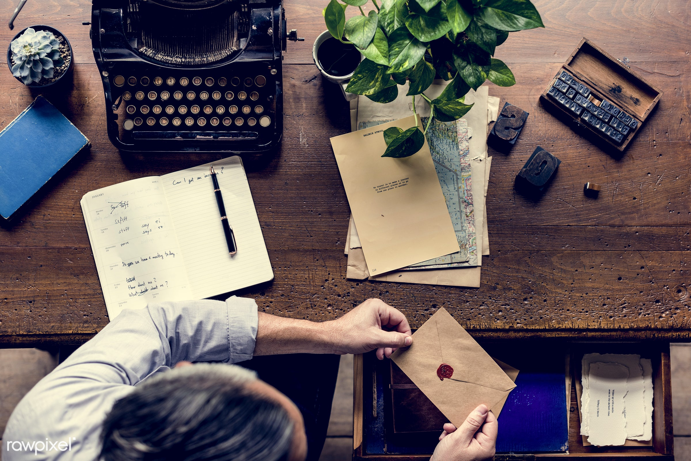 plant, workspace, paper, wax, retro, workplace, drinks, hands, seal, typewriter, men, working, aerial view, classic, man,...
