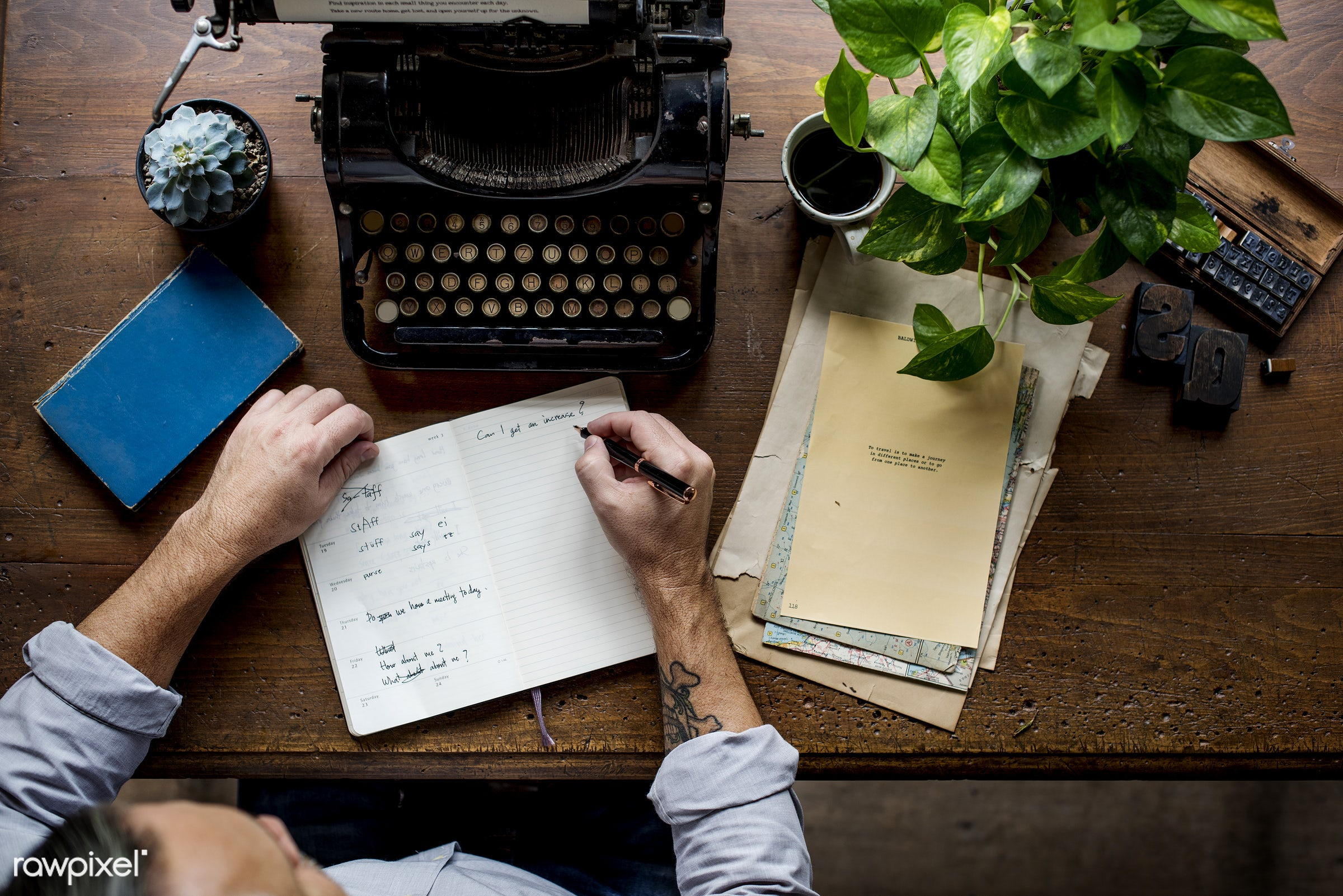plant, workspace, paper, retro, writing, workplace, drinks, hands, typewriter, men, working, aerial view, classic, man, note...
