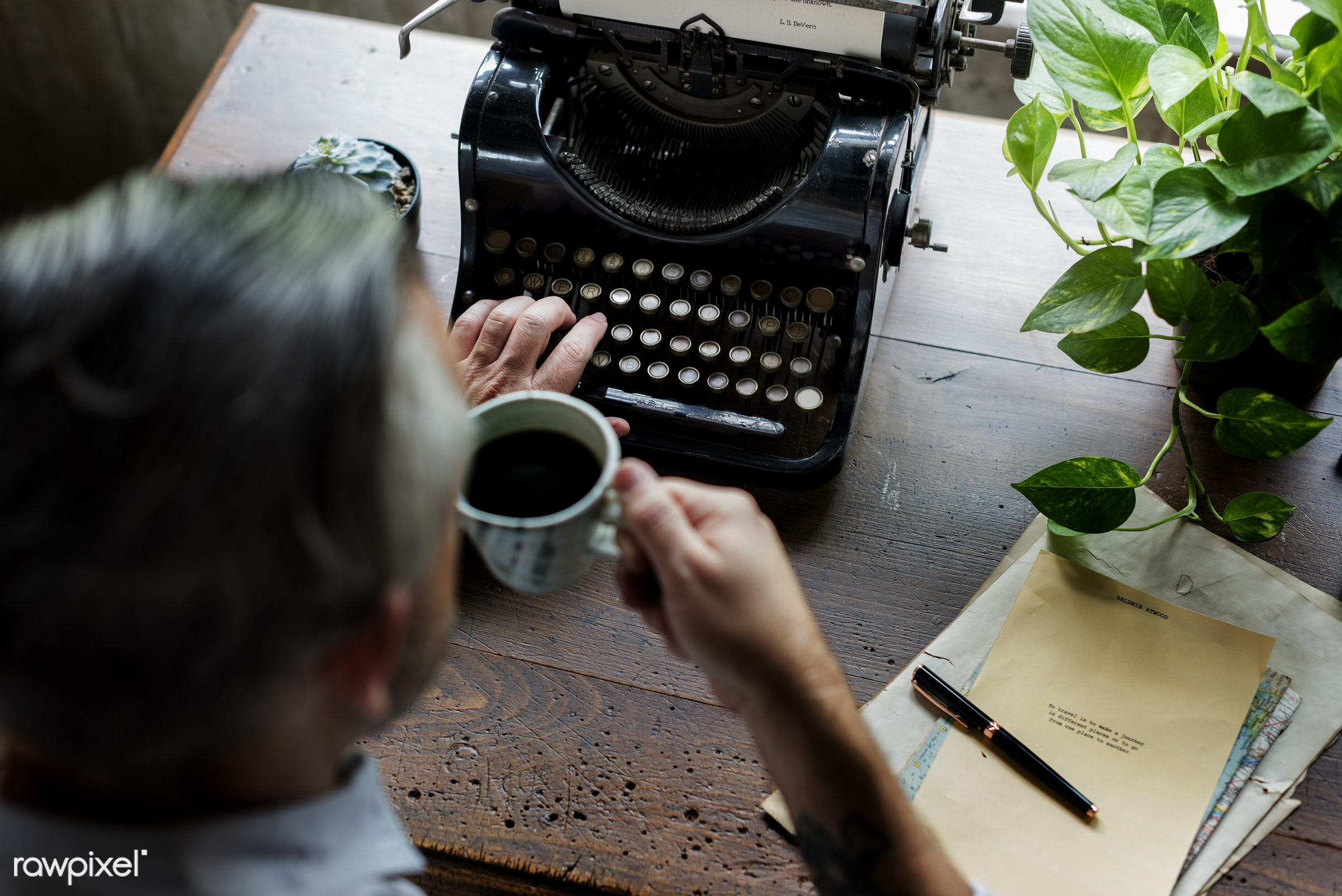 plant, drinking, workspace, paper, retro, workplace, drinks, hands, typewriter, typing, men, working, aerial view, classic,...