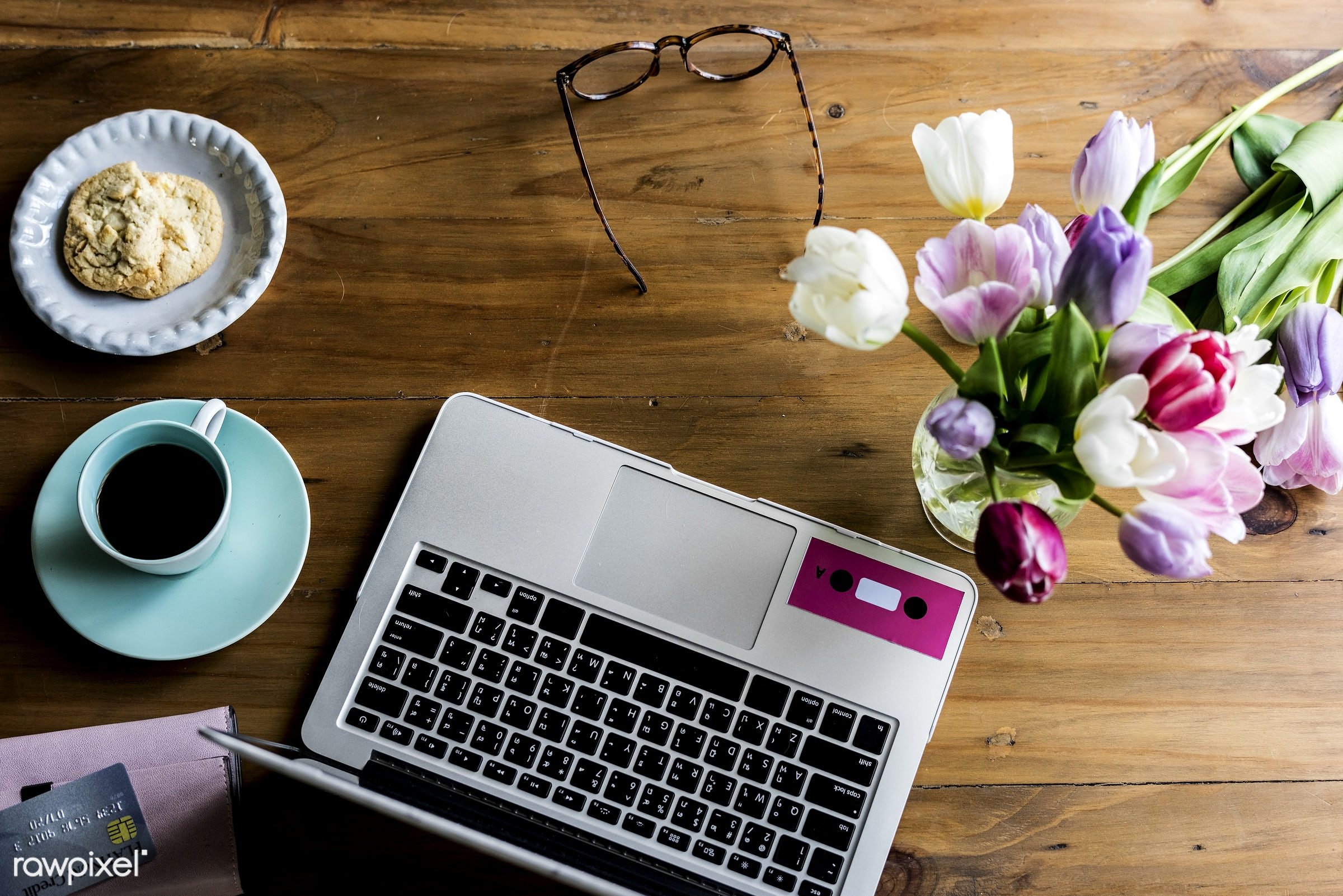 technology, glasses, purse, workspace, workplace, desk, beauty, leaf, blossom, nature, fresh, laptop, aerial view, refresh,...