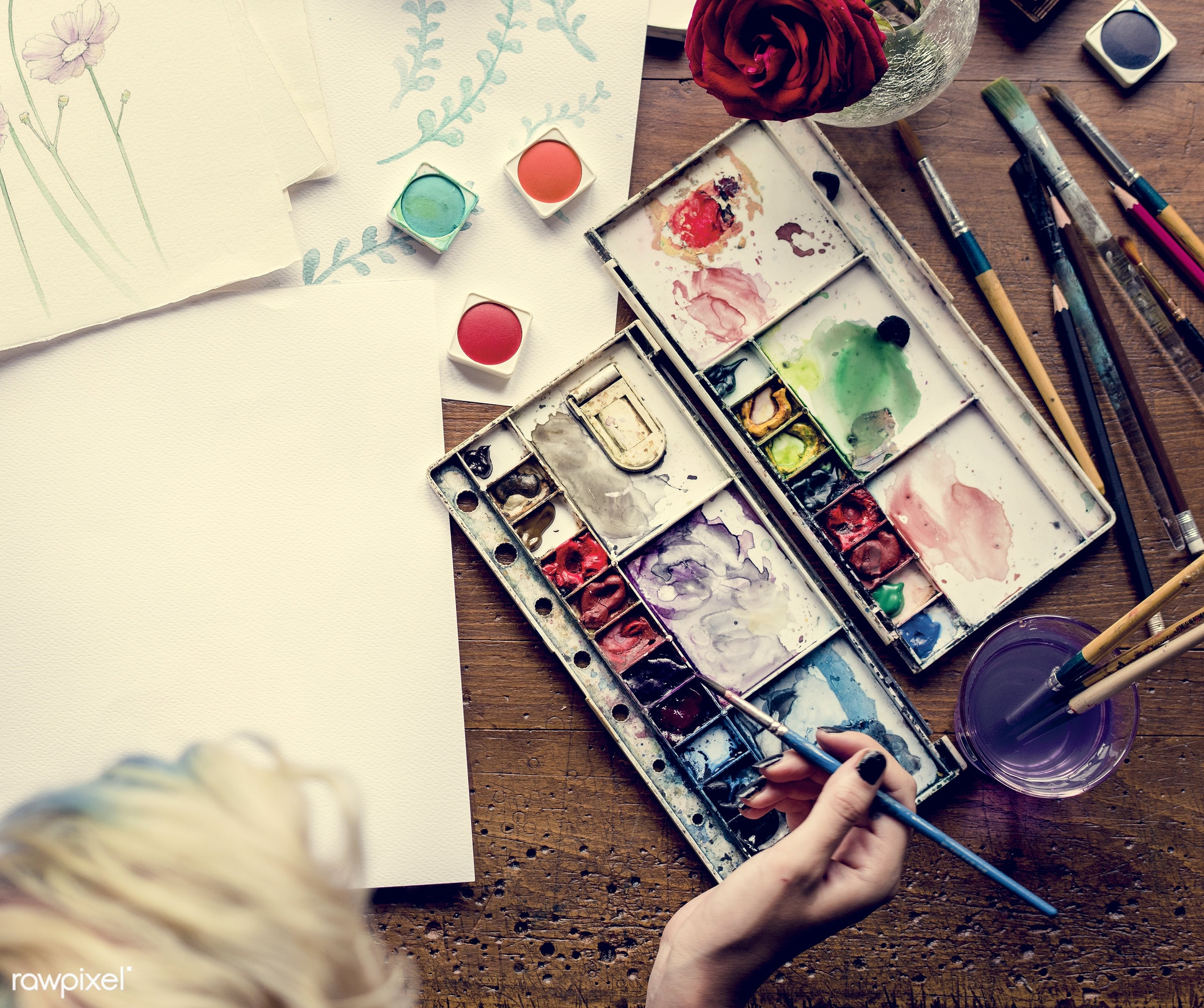 person, holding, colorful, paper, palette, creativity, people, drawing, multicolored, hands, woman, artist, aerial view,...