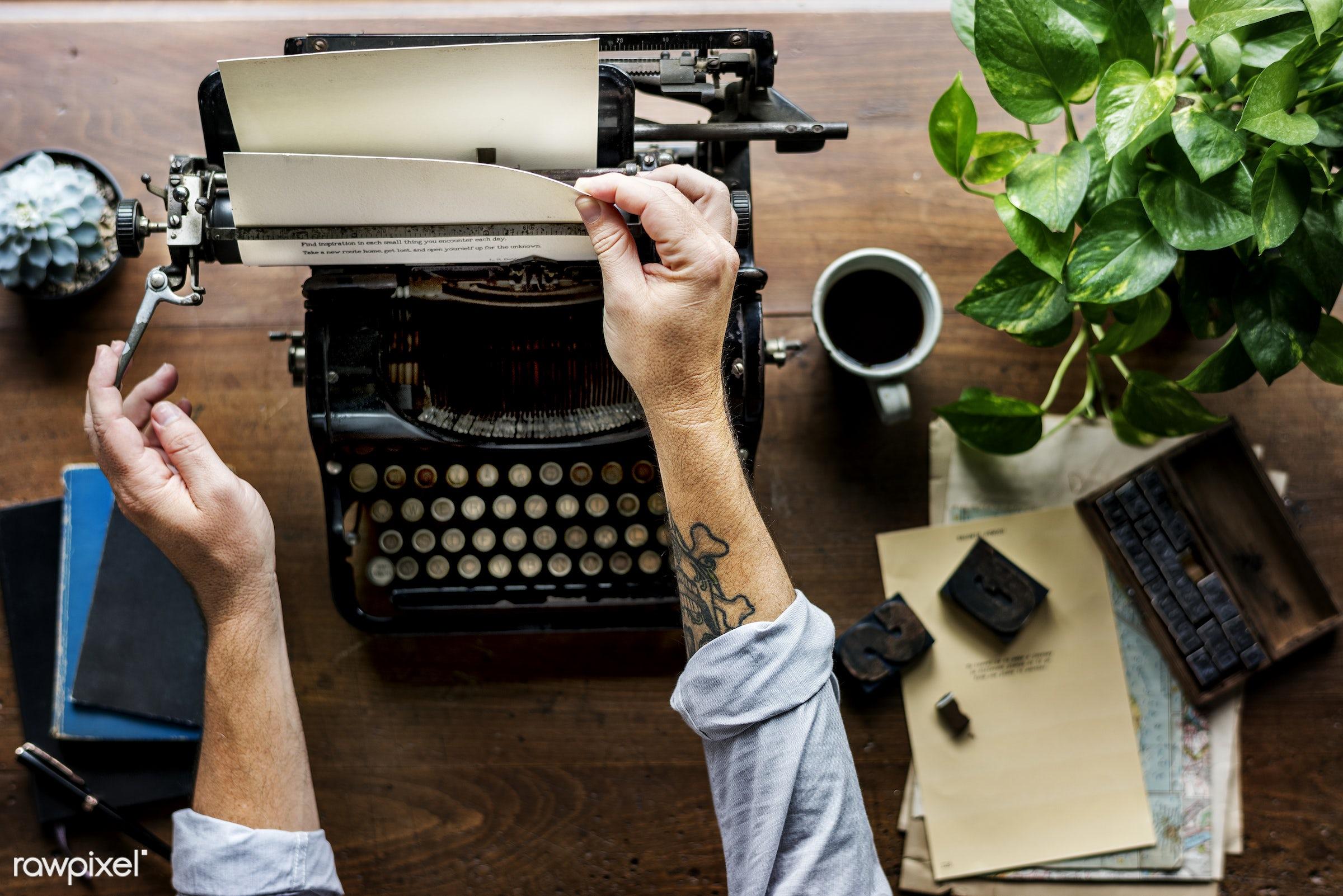 work, adult, alphabets, ancient, attach, author, coffee, data, document, editorial, hands, information, keyboard, machine,...