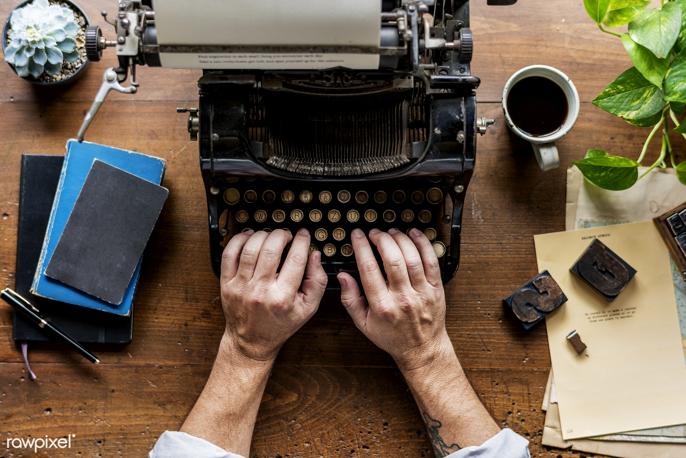 plant, workspace, paper, retro, workplace, drinks, hands, typewriter, typing, working, aerial view, classic, note,...