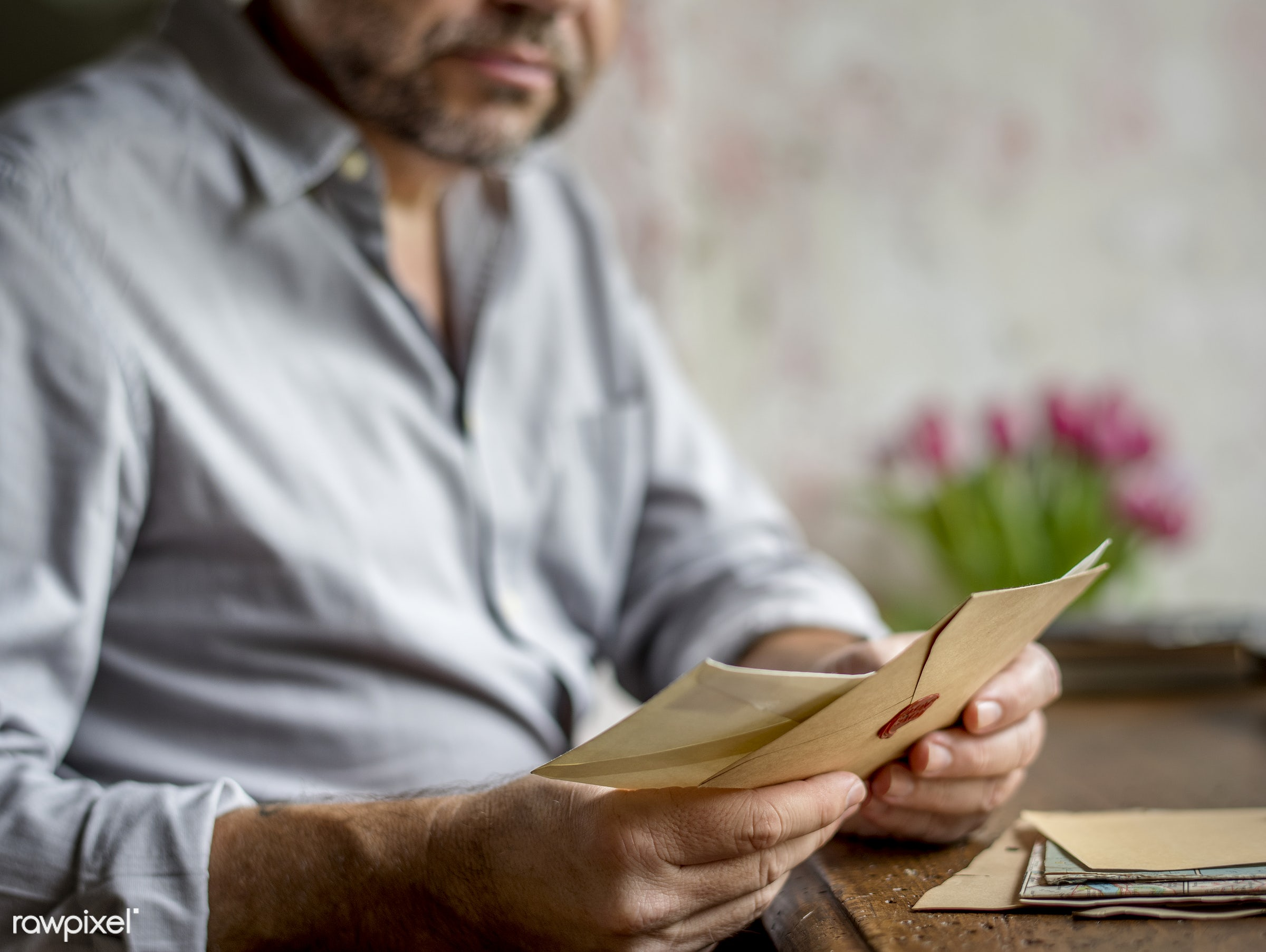 old, workspace, paper, envelope, data, retro, received, desk, story, document, style, old fashion, hands, write, stamps, men...