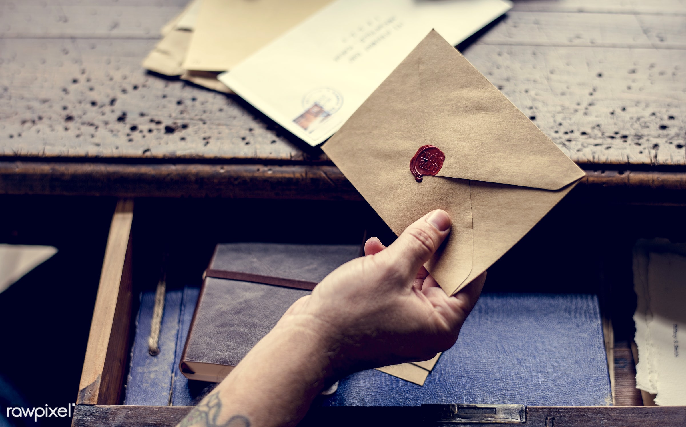 holding, workspace, paper, envelope, wax, retro, workplace, desk, drawer, hand, seal, men, working, aerial view, note, man,...