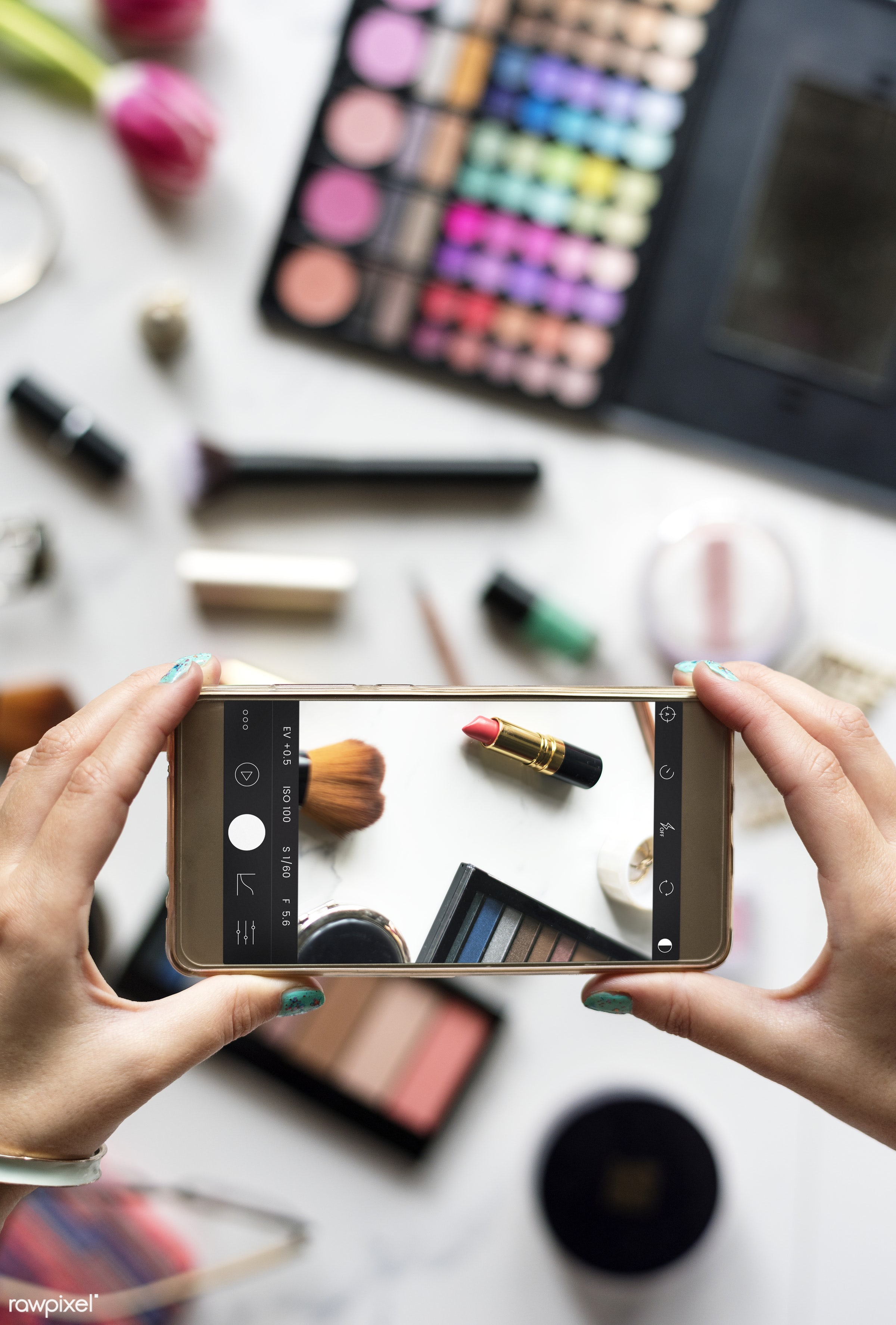 Photo being taken of makeup - beauty, blush, brushes, care, collection, colors, cosmetic, eye shadow, fashion, feminine,...