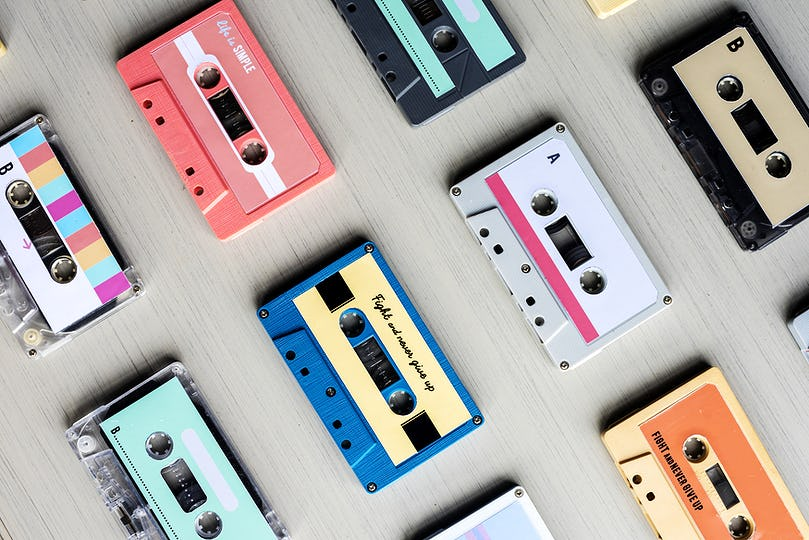 Collection of Retro Music Audio Cassette Tape 80s