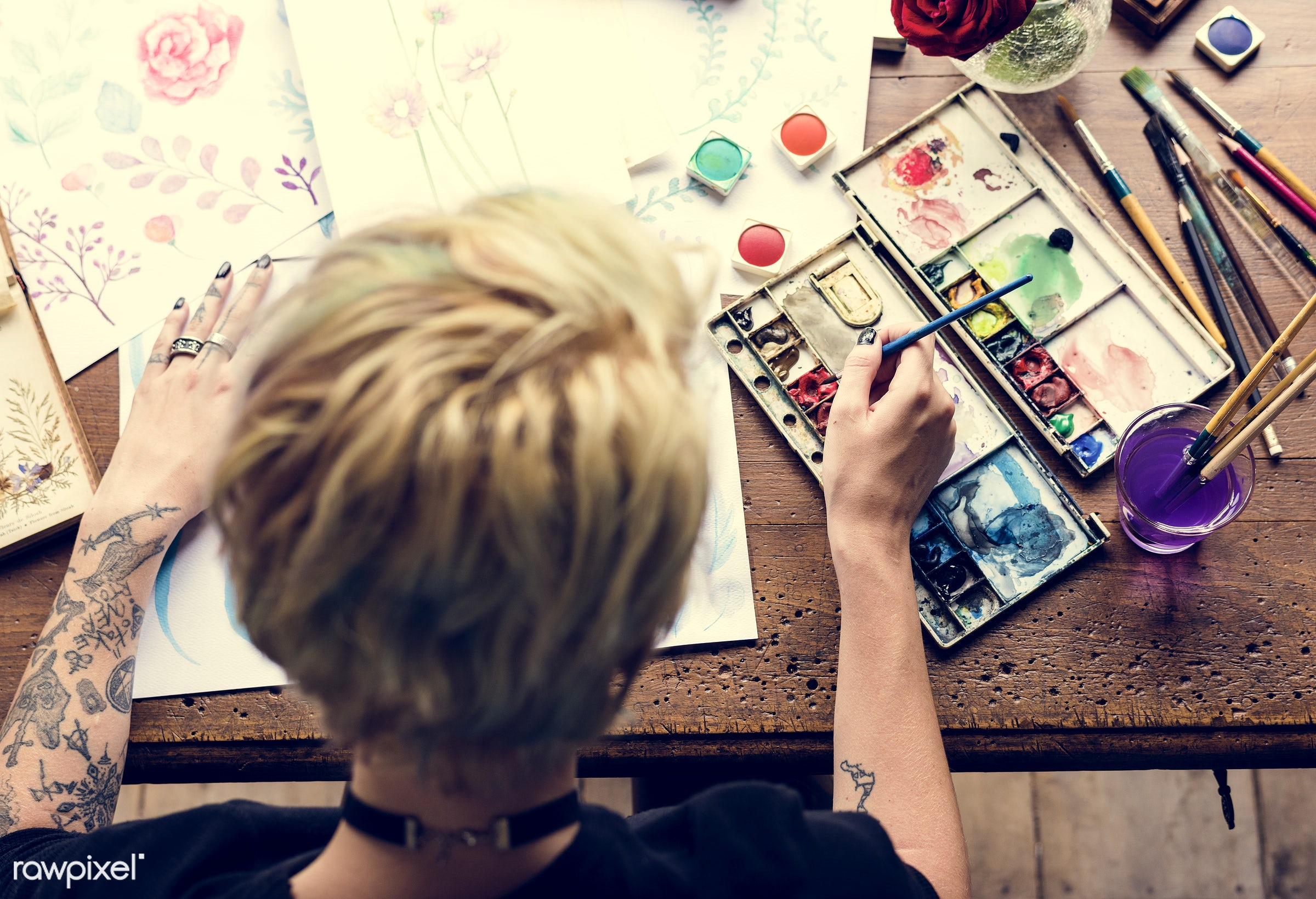 craft, person, arts, relax, handicraft, tool, palette, paintbrush, equipment, creativity, people, draw, hands, woman,...