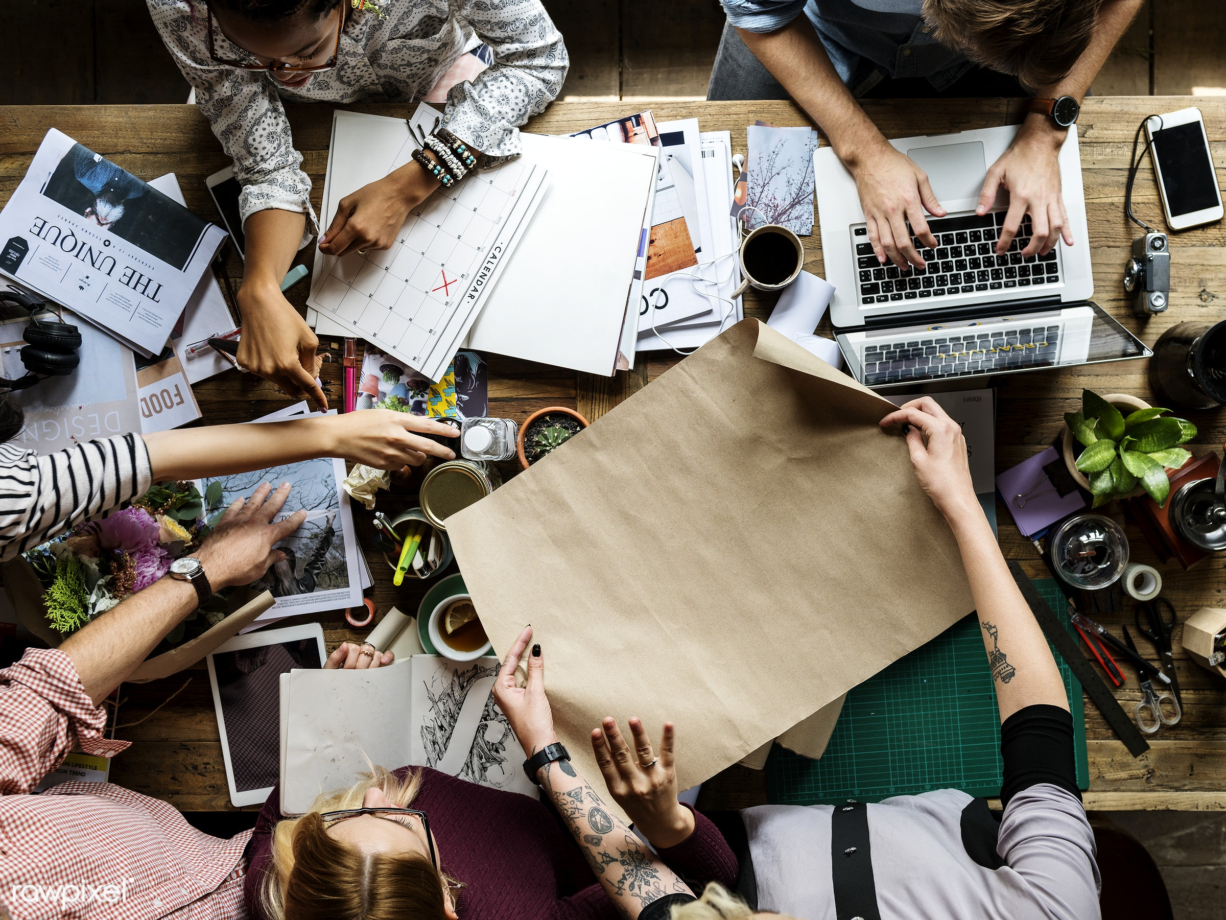 People Working Together at Office Workplace - magazine, desk, mockup, aerial view, art, banner, blank, brainstorm, business...