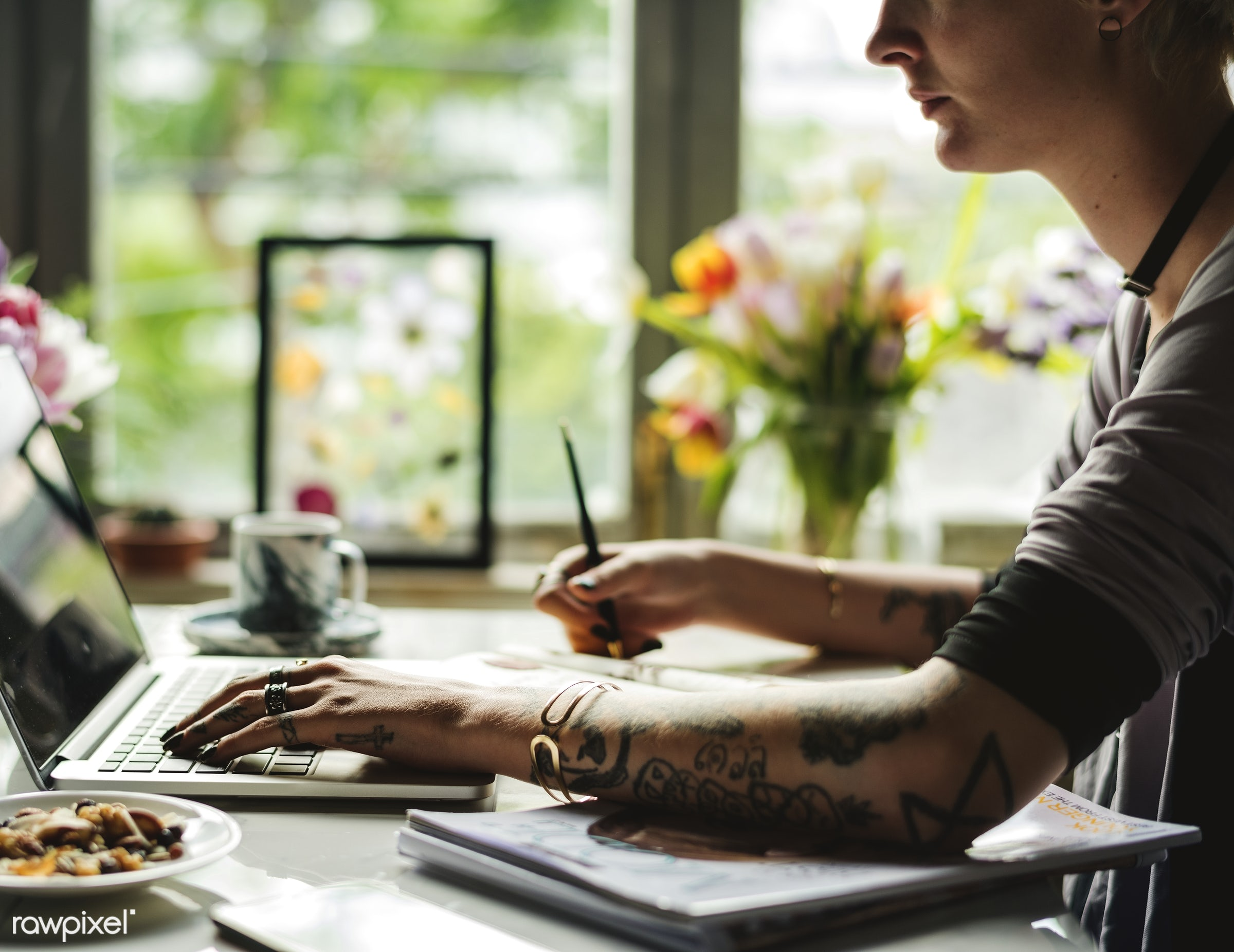 Woman using her laptop to create  - action, adult, attach, attached, business, creative, design, designer, hands, ideas,...