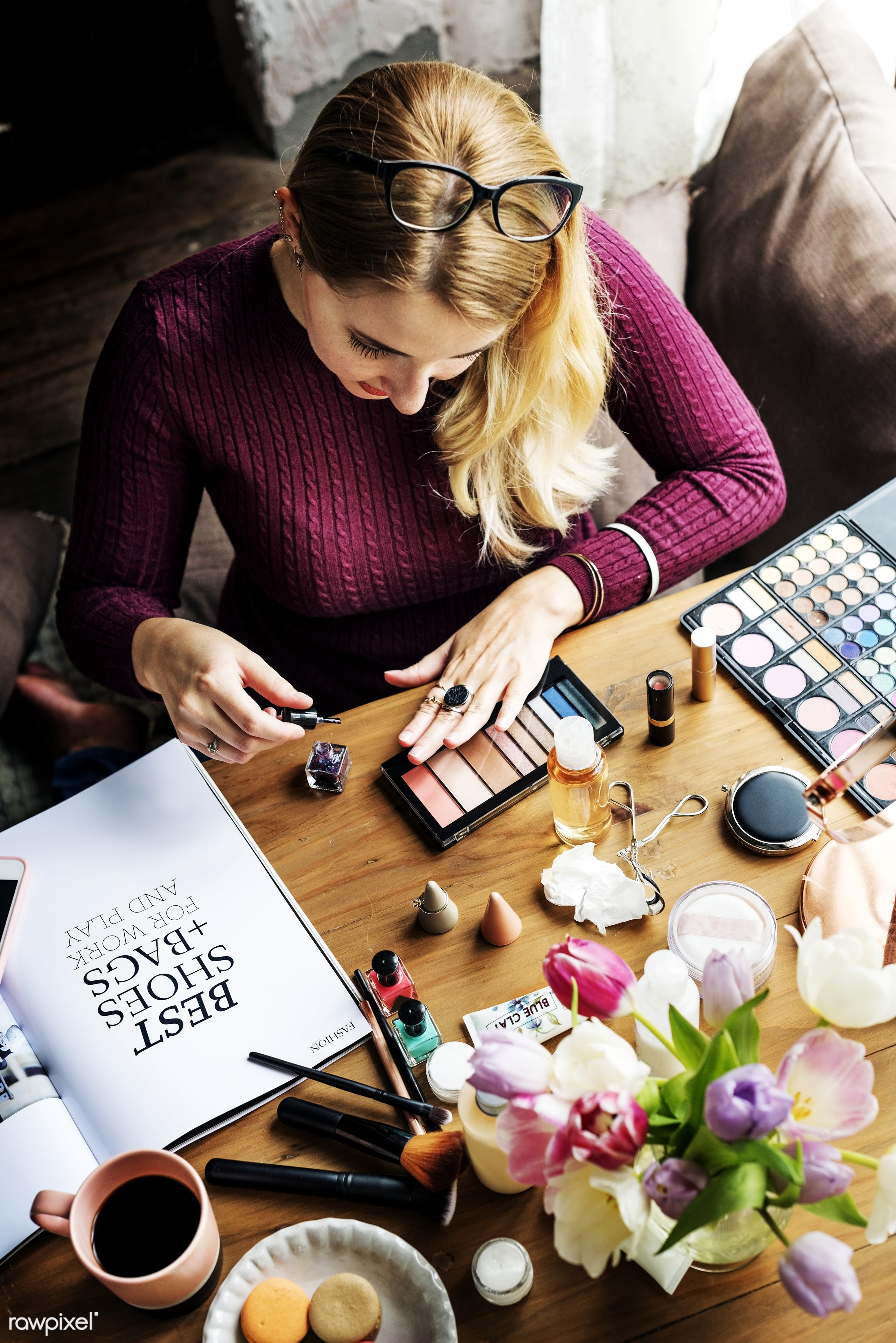 Woman using cosmetics - accessories, adult, apply, attach, attached, beautiful, beauty, blush, brushes, care, collection,...