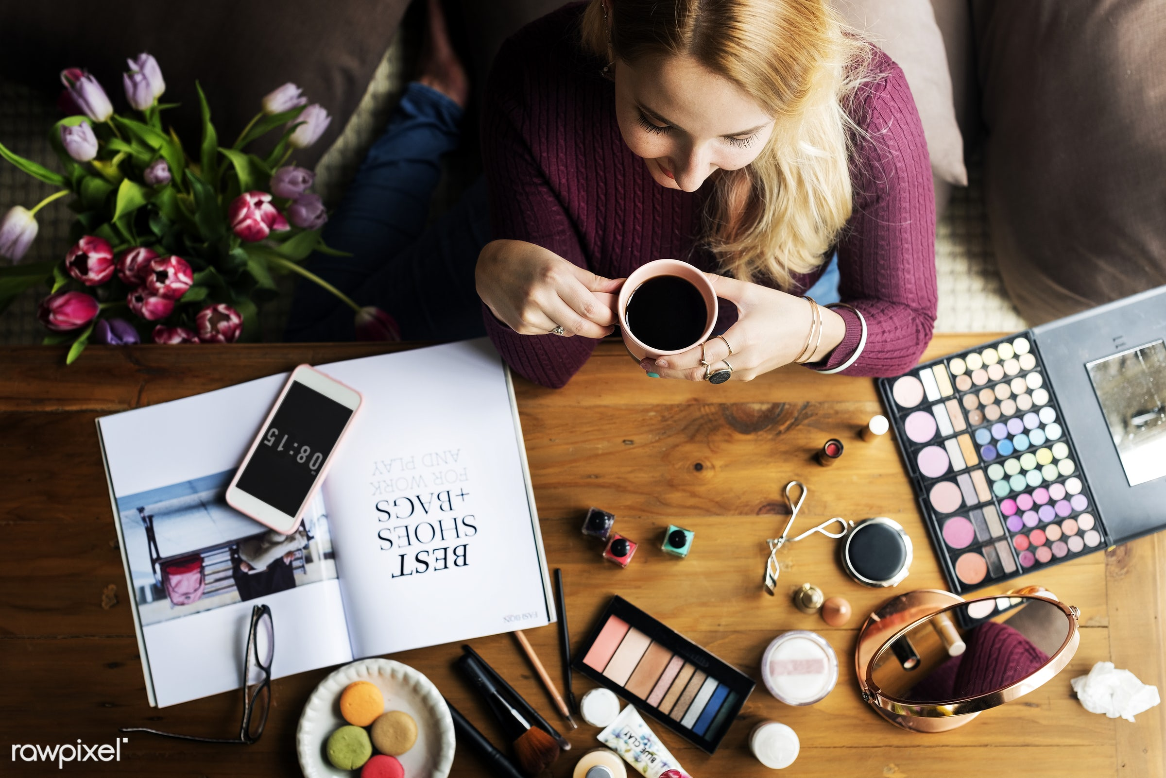 Woman enjoying a coffee break whilst testing make up products - accessories, adult, apply, attach, attached, beautiful,...