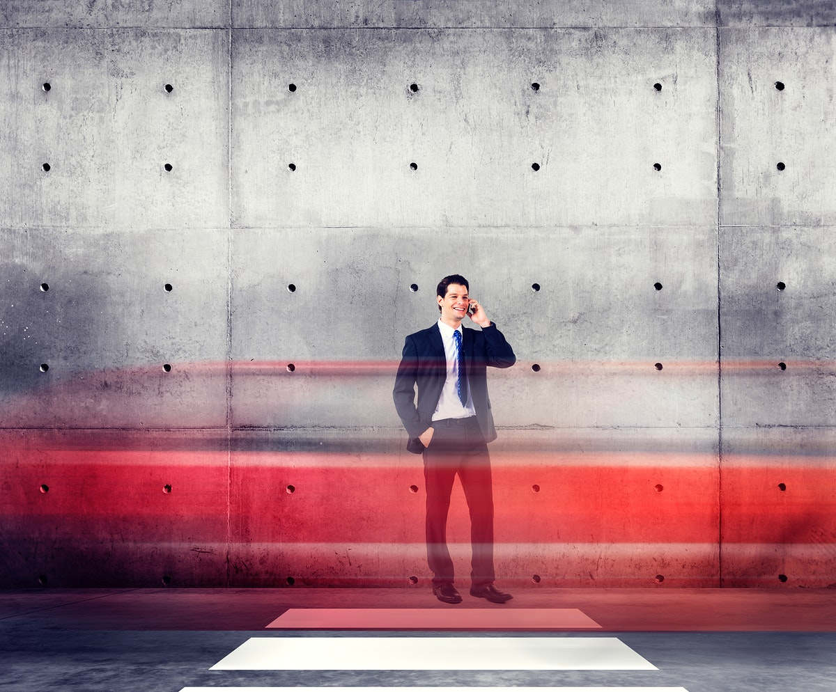 Businessman Talking Traffic Red Light Motion Concept