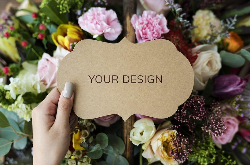 Hand Hold Showing Paper Flower Arrangement Background