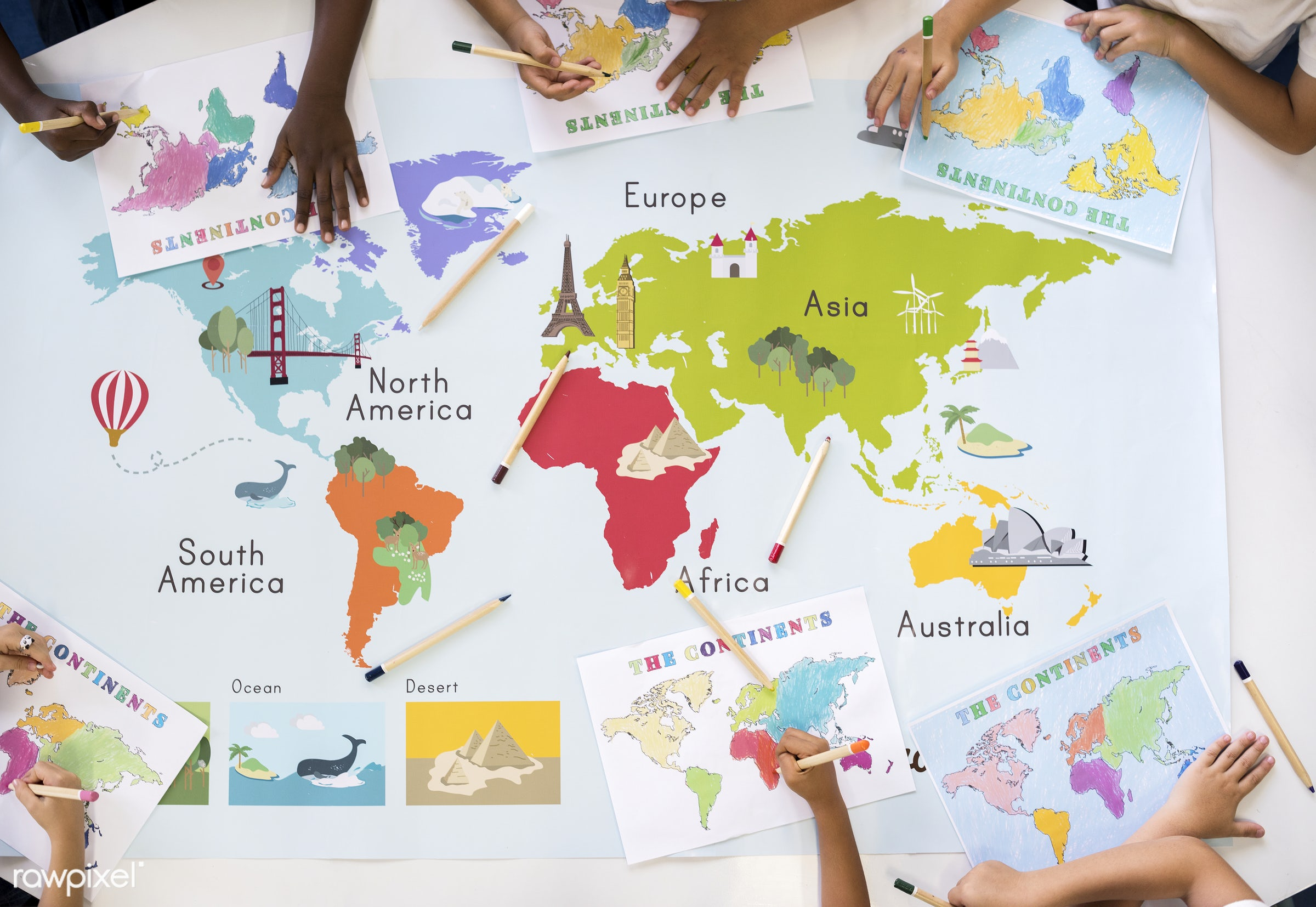 Happy kids at elementary school - lands, knowledge, flatlay, tag, ocean, study, education, countries, regions, colored...