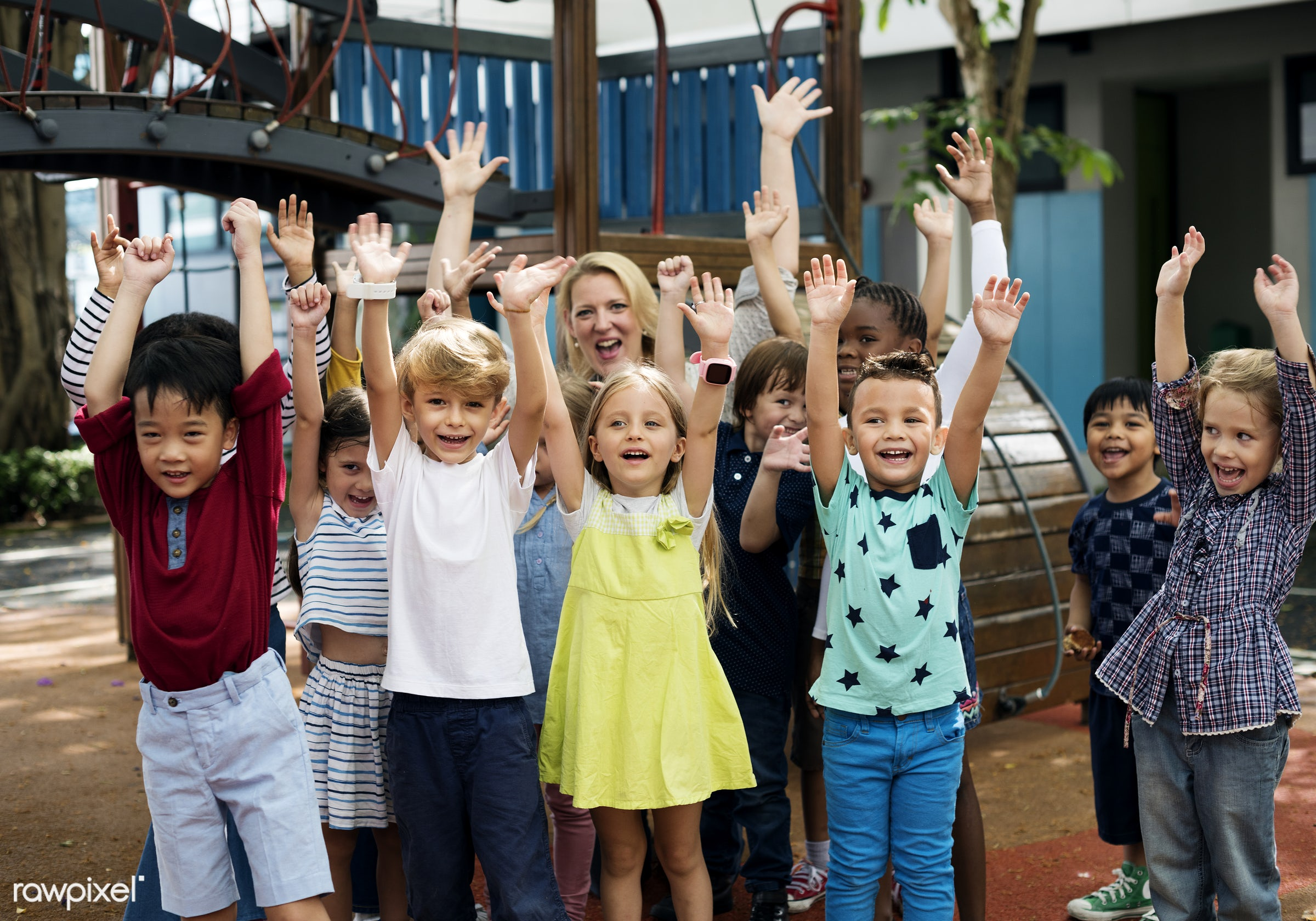 Happy kids at elementary school - kindergarten, education, school, young, african, african american, american, arms raised,...