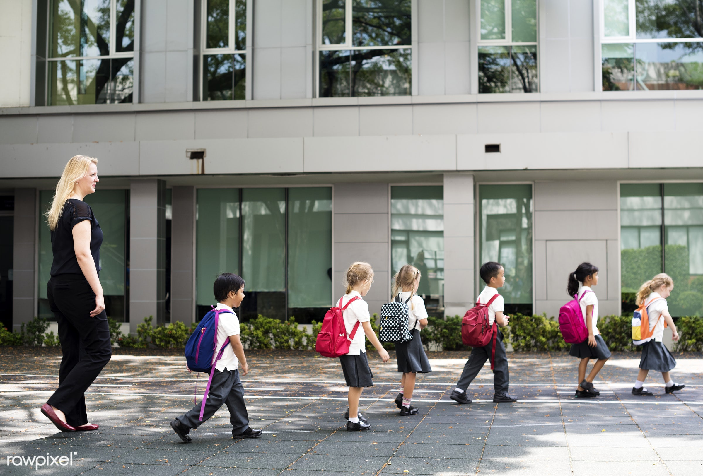 Happy kids at elementary school - crossing, walking, after school, playful, children, road, together, friends, boys,...