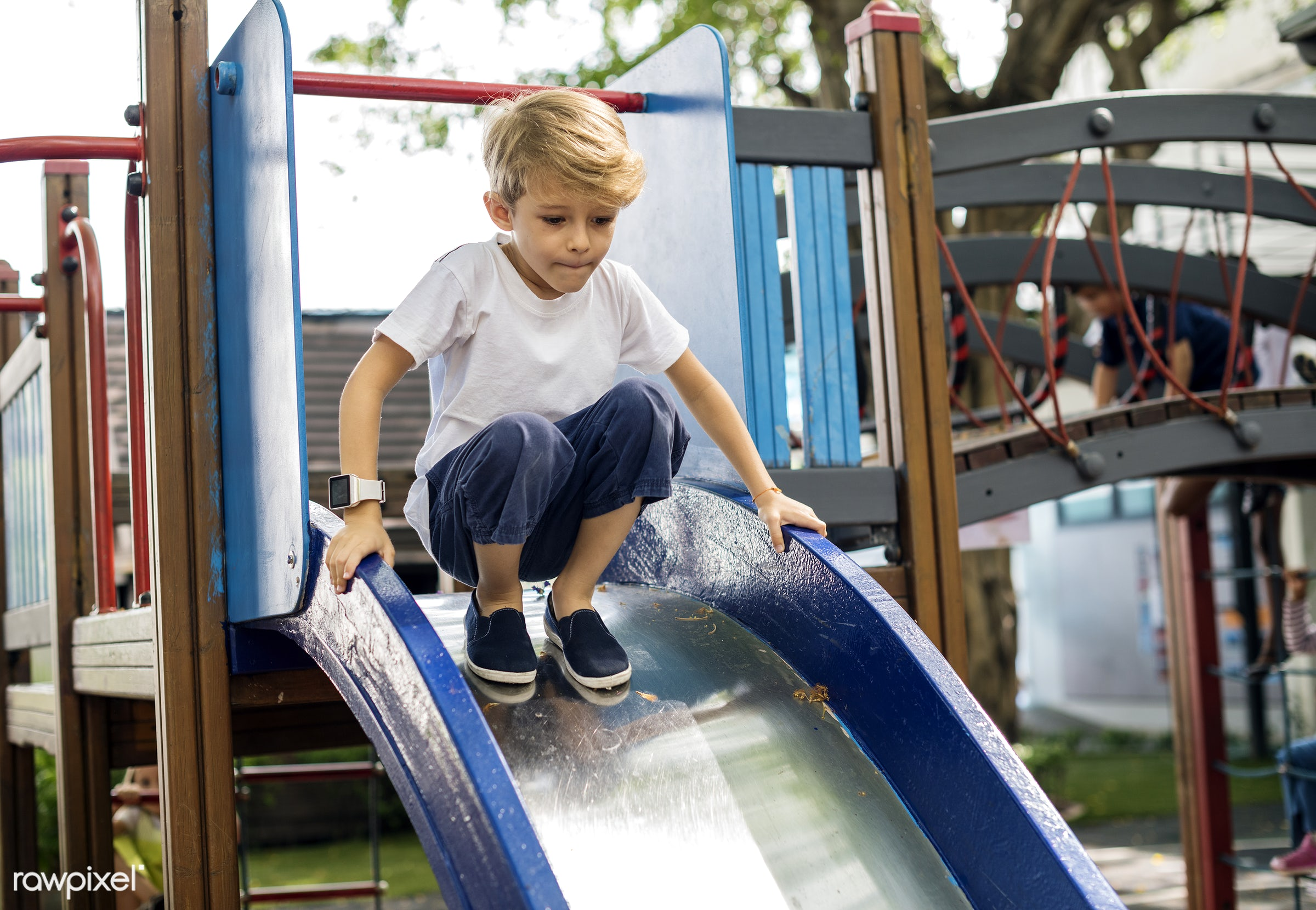 Happy kids at elementary school - playground, park, leisure, young, kid, caucasian, child, playing, blonde, recreational,...