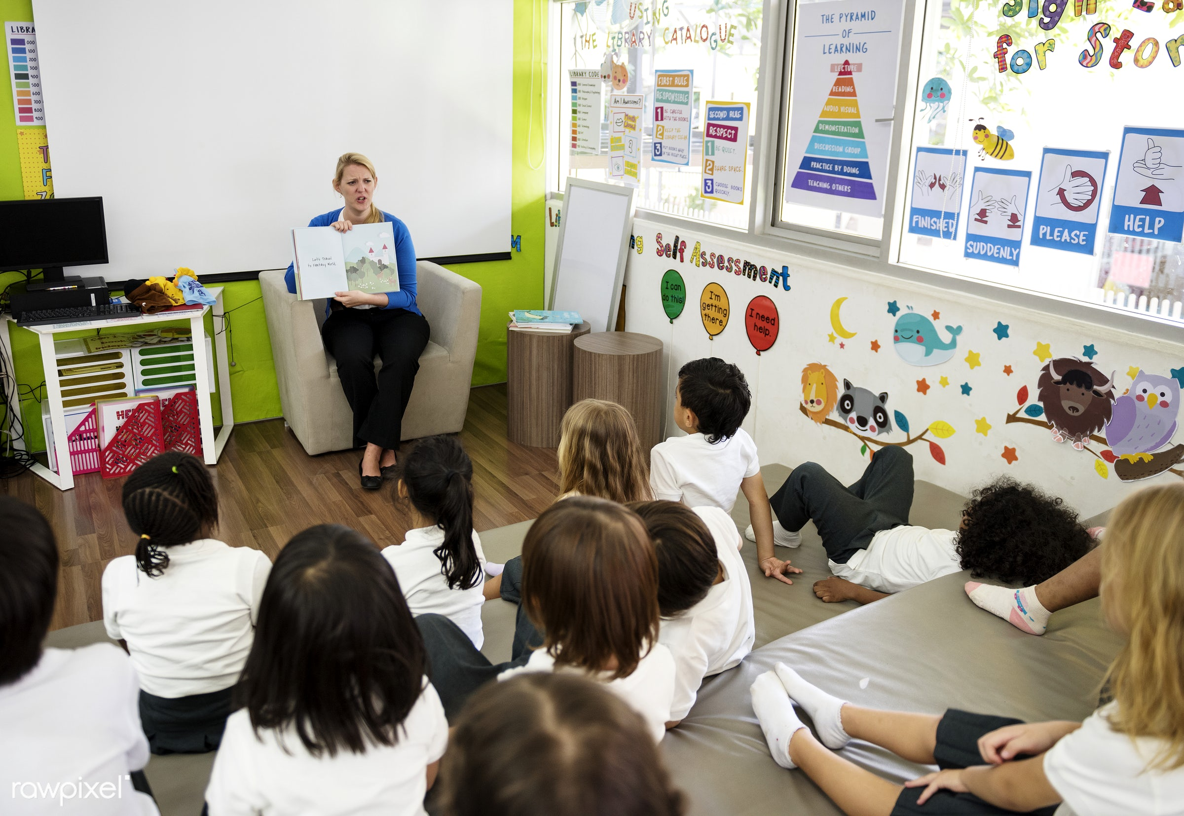 Happy kids at elementary school - teacher, education, african, african american, american, asian, black, boys, british,...