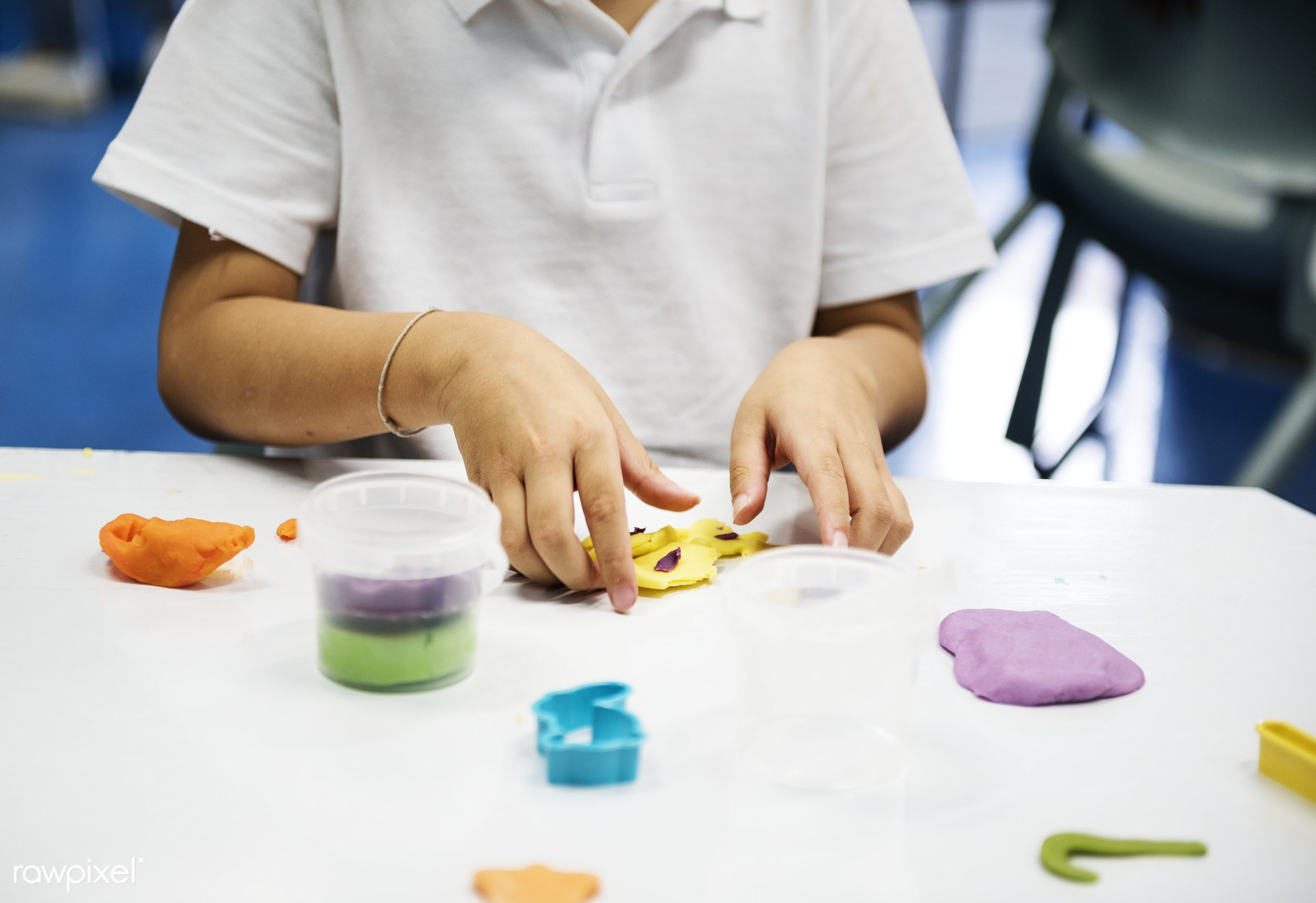 Kids playing with clay - clay, mold, arts, colorful, children, playing, hands, alone, preschool, ideas, students, diversity...
